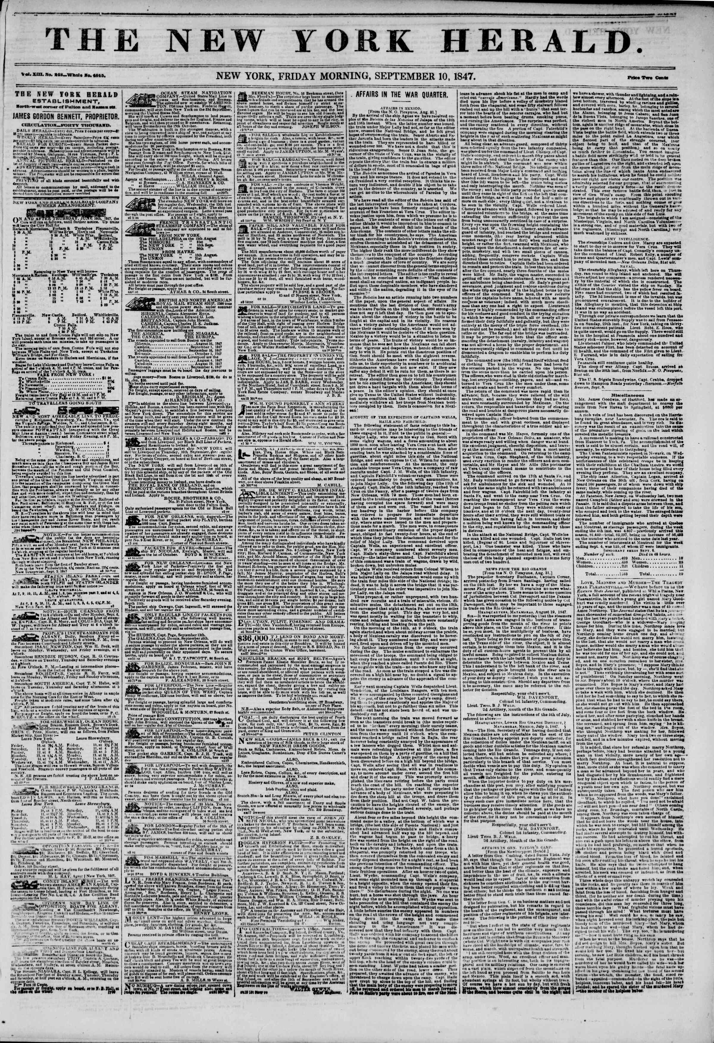 Newspaper of The New York Herald dated September 10, 1847 Page 1