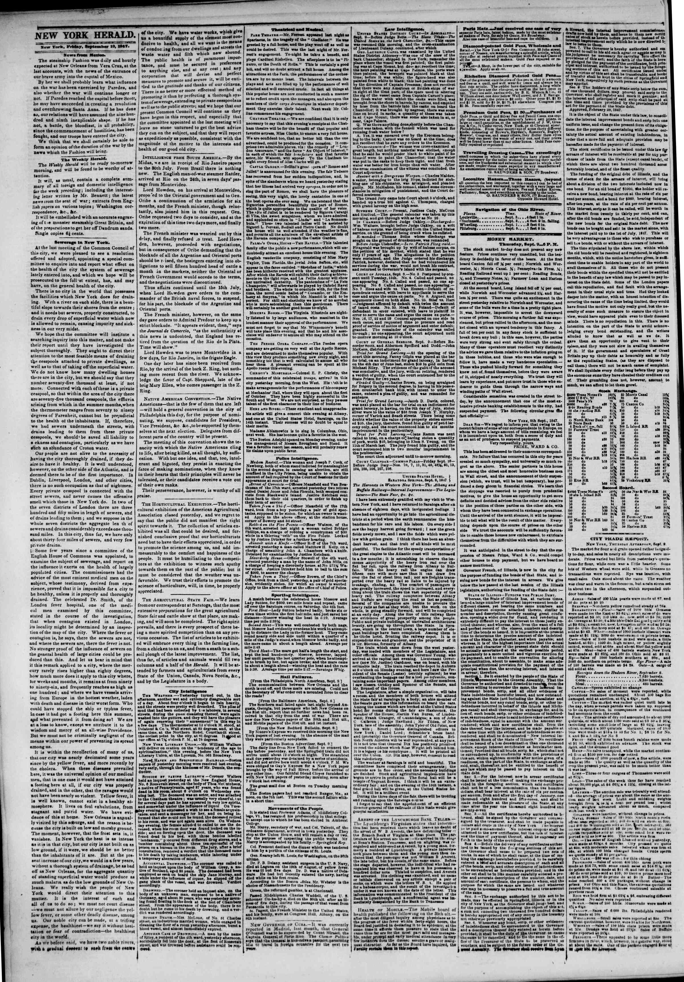 Newspaper of The New York Herald dated September 10, 1847 Page 2