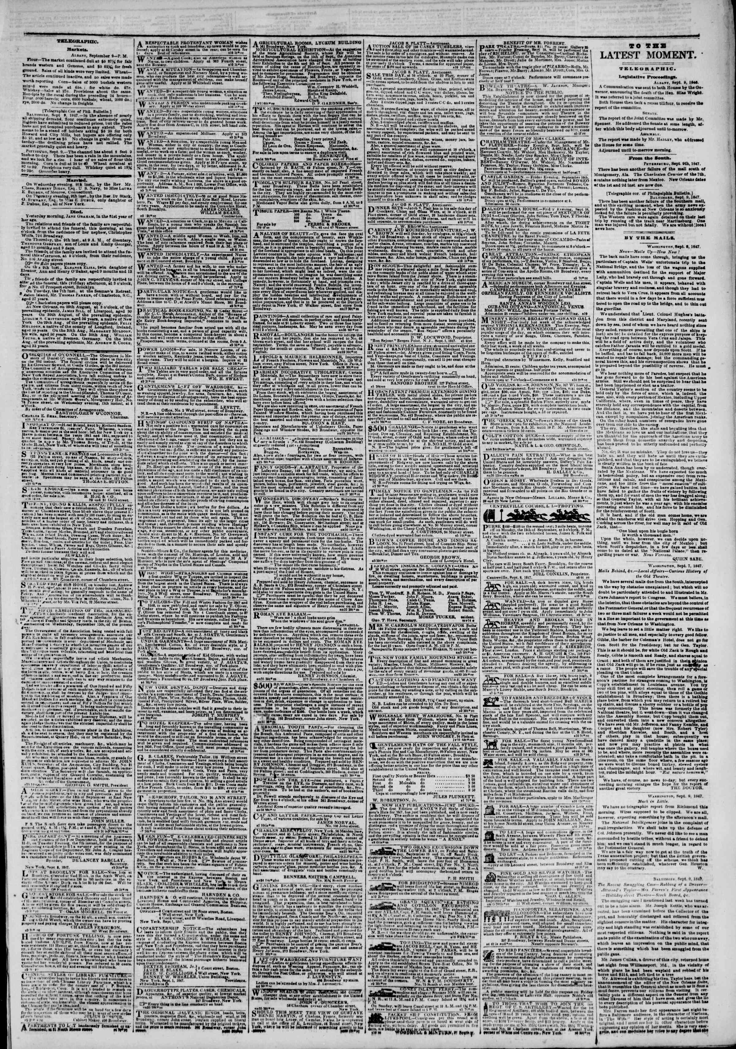 Newspaper of The New York Herald dated September 10, 1847 Page 3