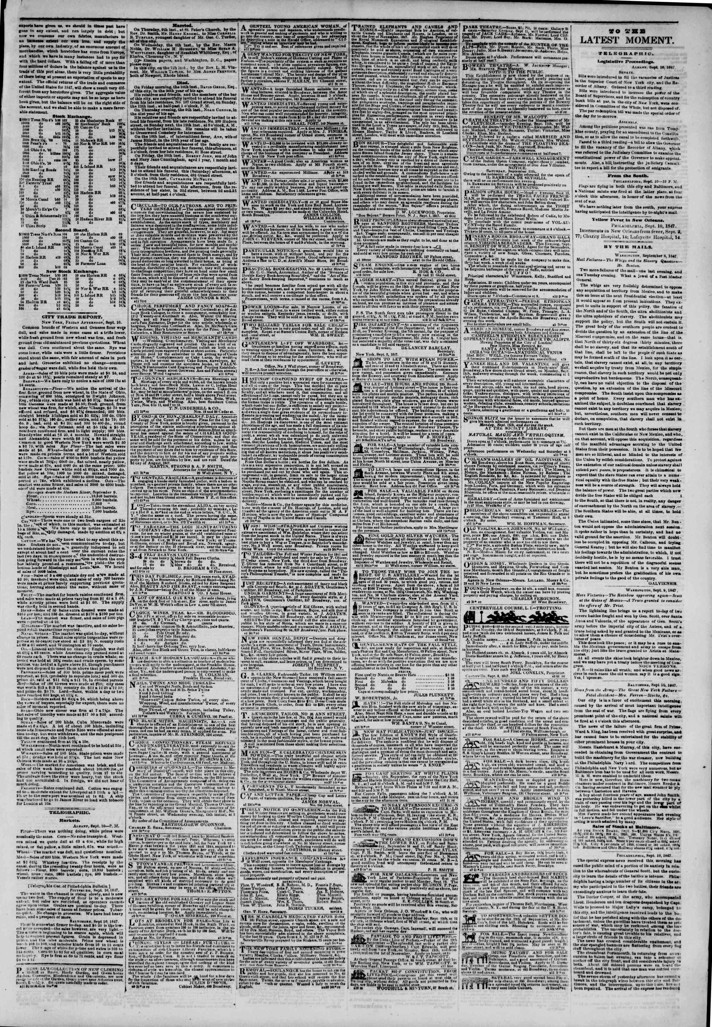 Newspaper of The New York Herald dated 11 Eylül 1847 Page 3