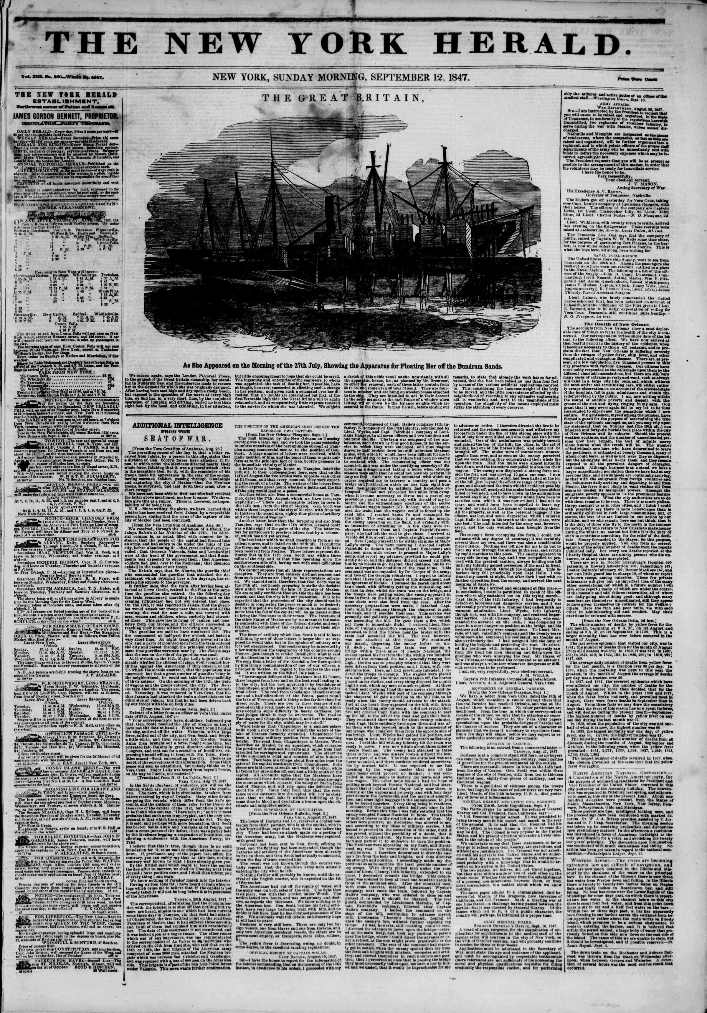 Newspaper of The New York Herald dated September 12, 1847 Page 1
