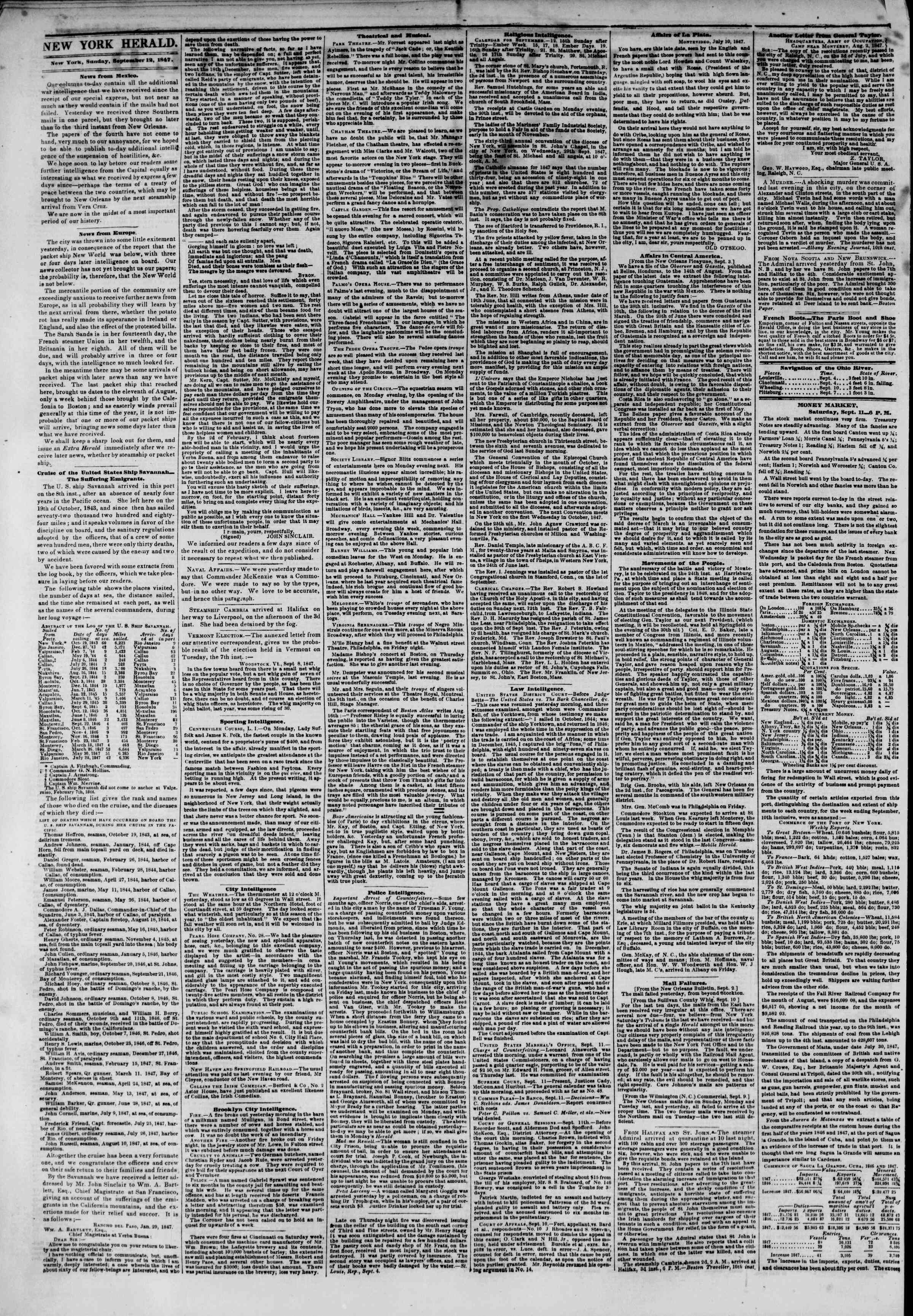 Newspaper of The New York Herald dated September 12, 1847 Page 2