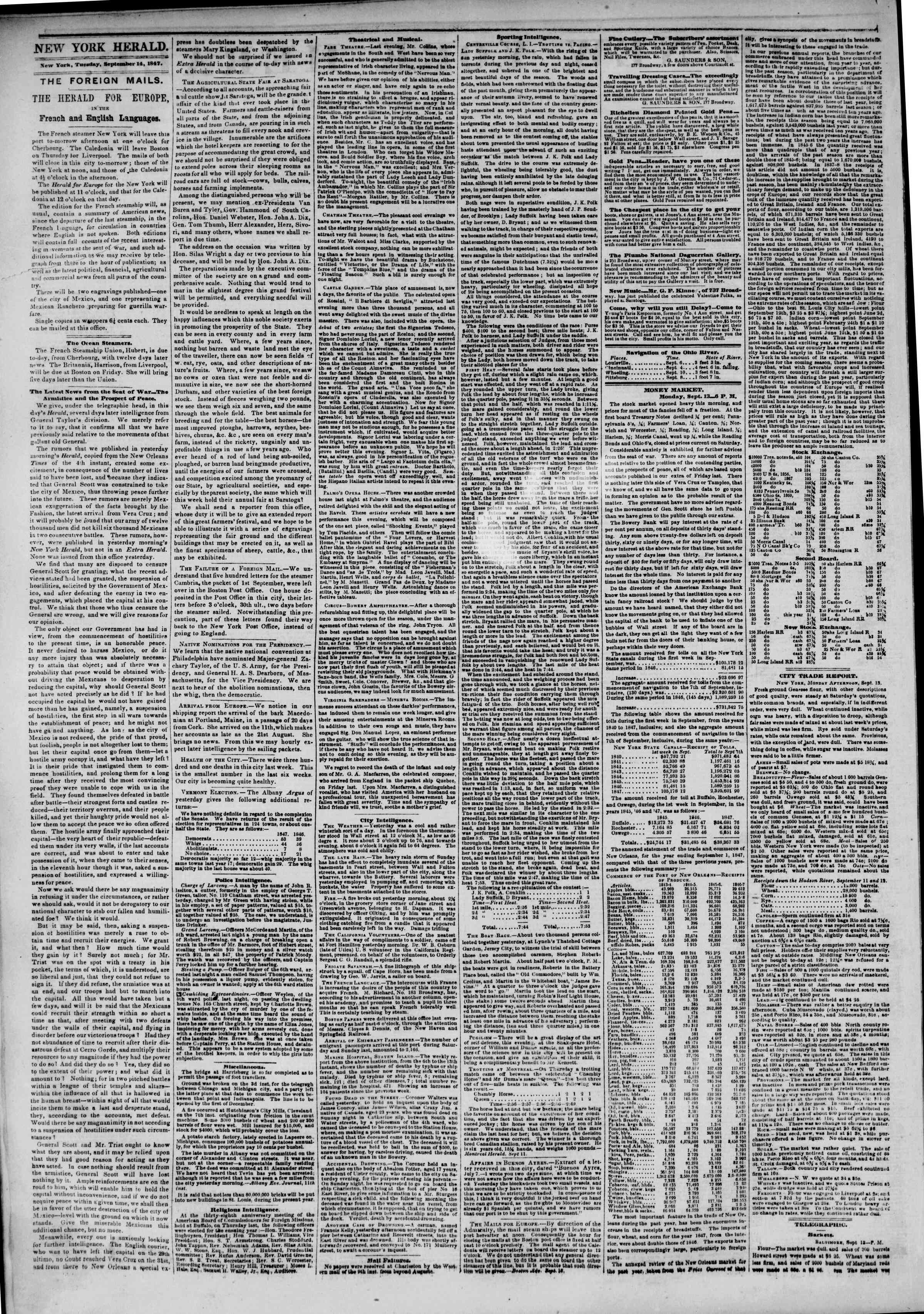 Newspaper of The New York Herald dated September 14, 1847 Page 2