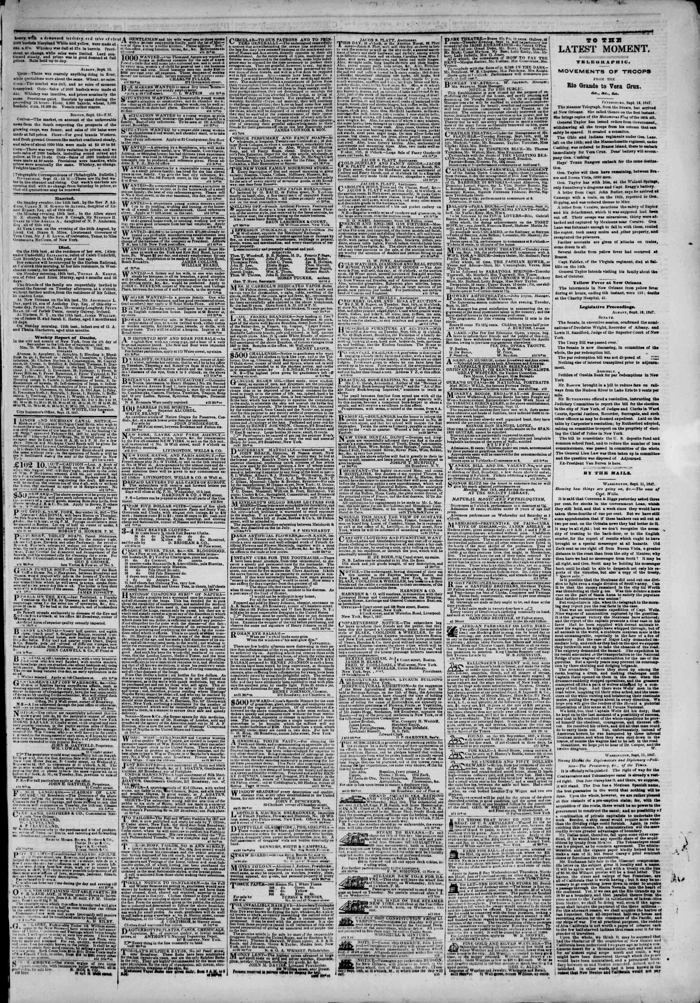 Newspaper of The New York Herald dated September 14, 1847 Page 3
