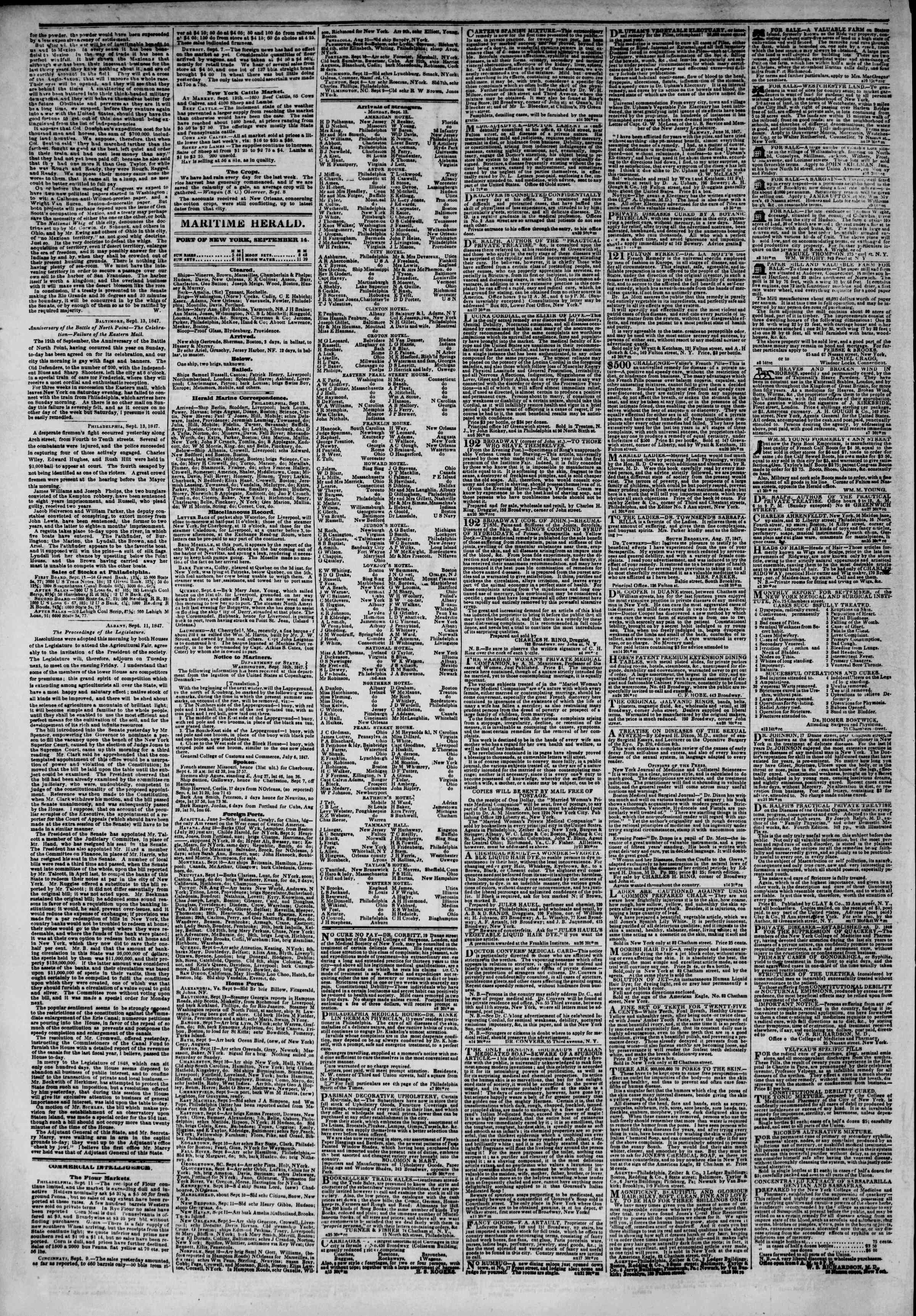 Newspaper of The New York Herald dated September 14, 1847 Page 4