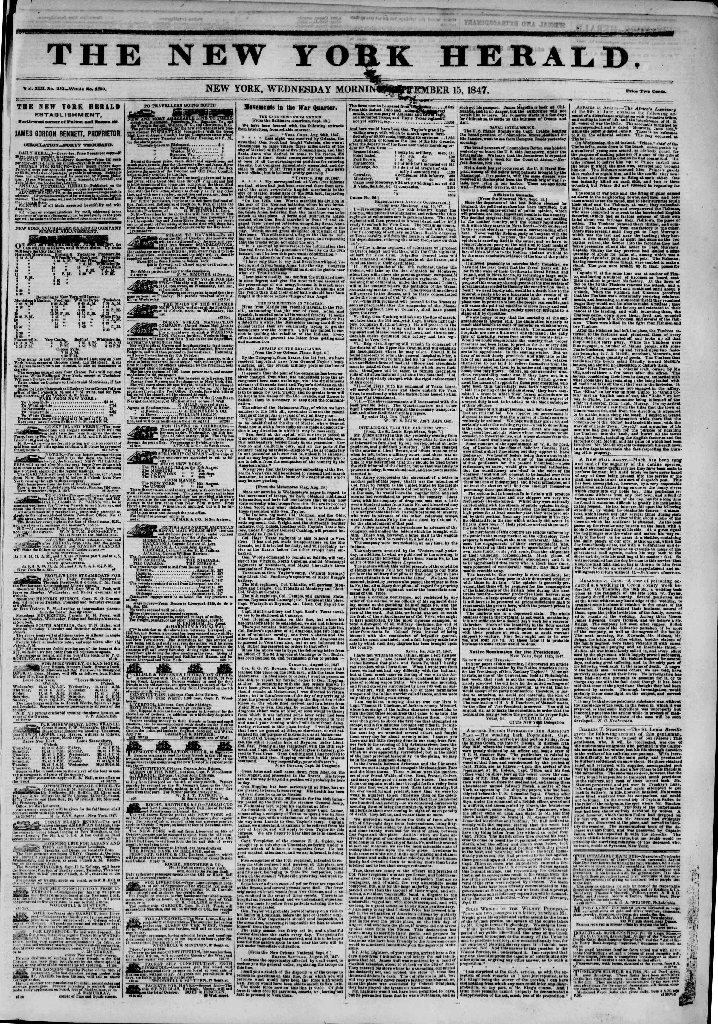 Newspaper of The New York Herald dated September 15, 1847 Page 1
