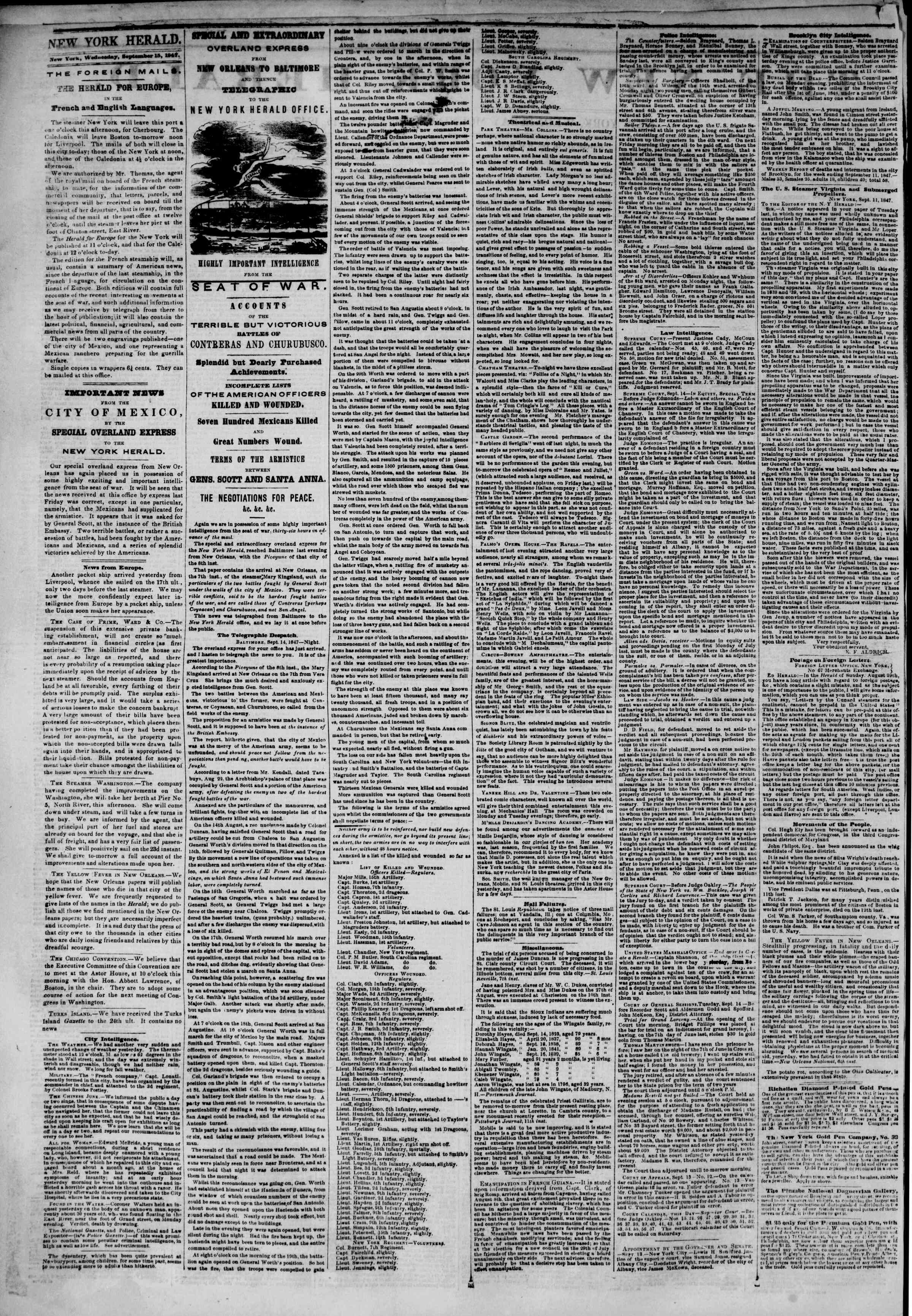 Newspaper of The New York Herald dated September 15, 1847 Page 2