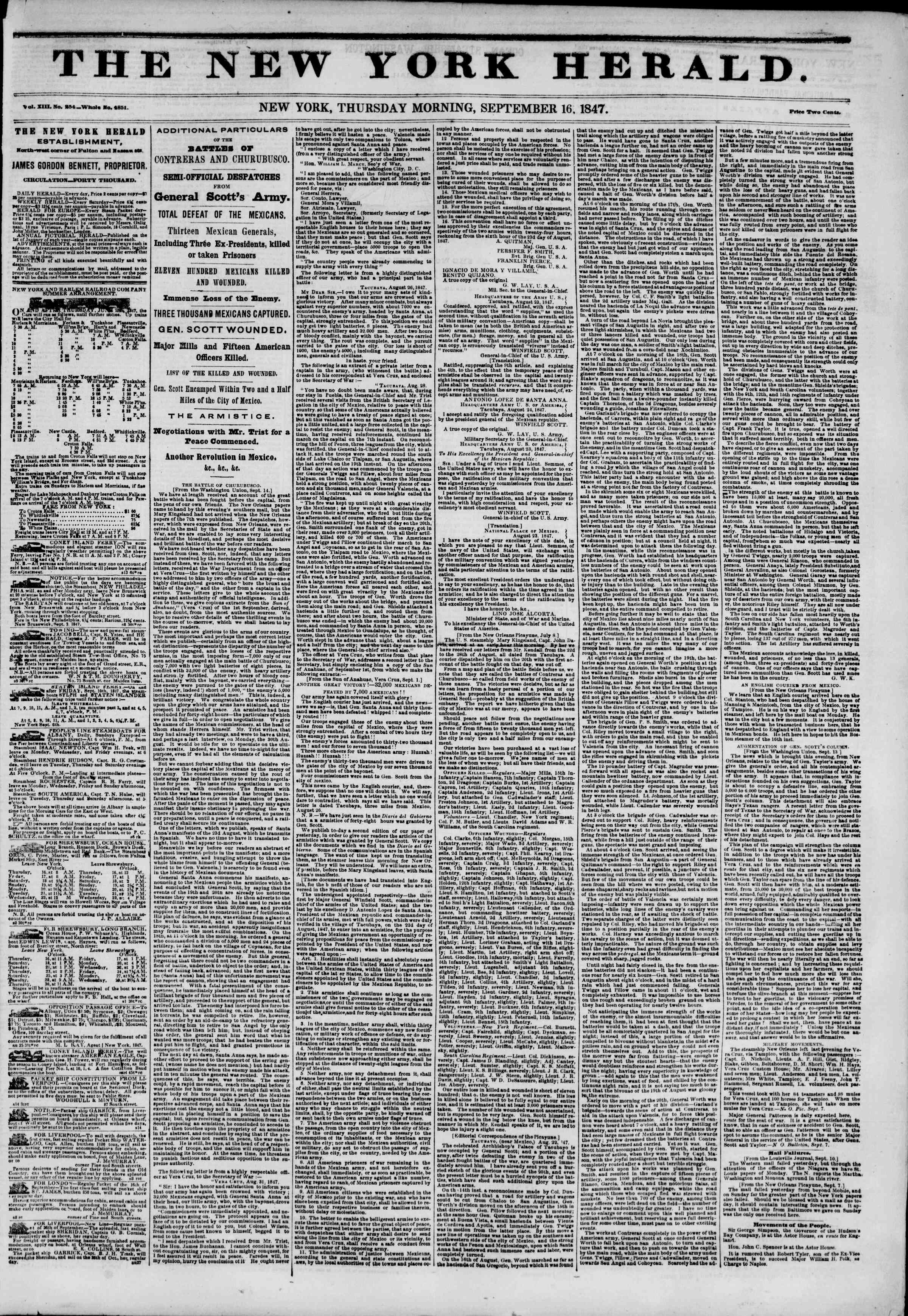 Newspaper of The New York Herald dated September 16, 1847 Page 1