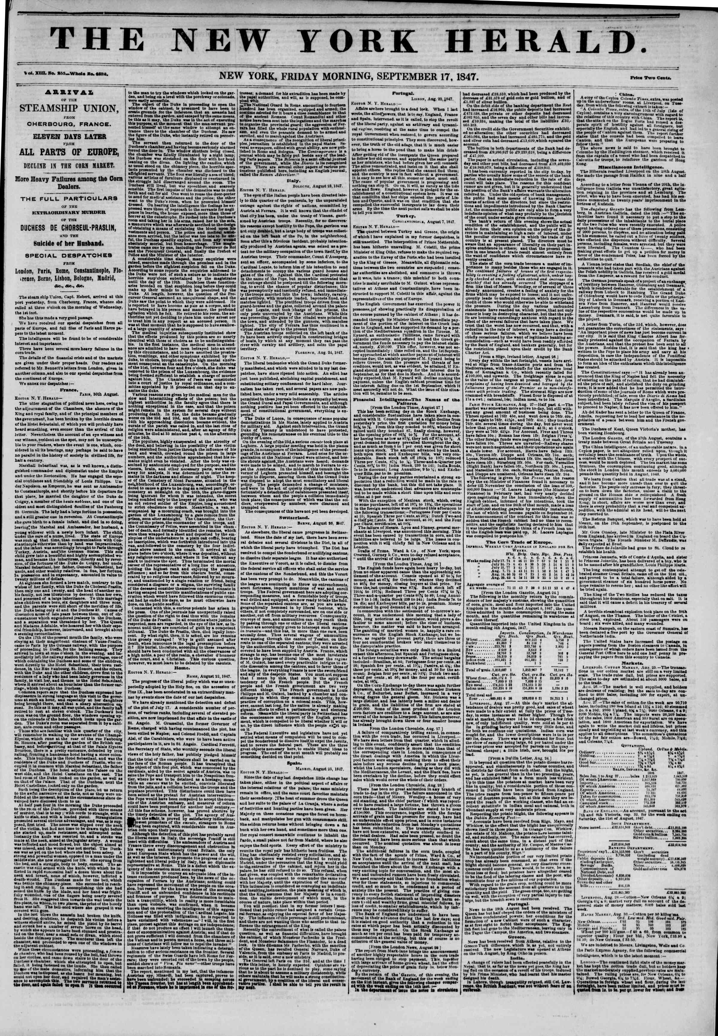 Newspaper of The New York Herald dated September 17, 1847 Page 1