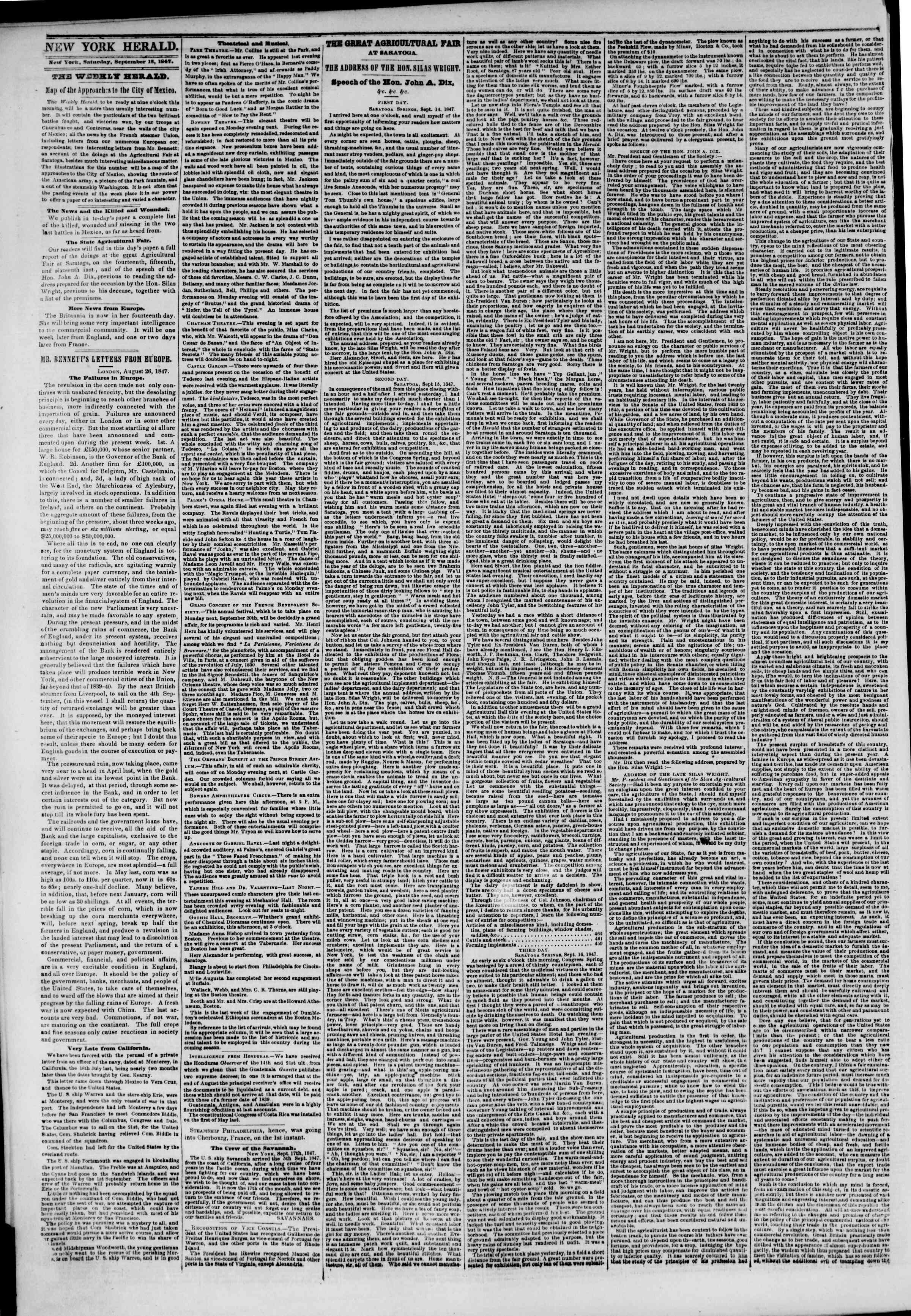 Newspaper of The New York Herald dated September 18, 1847 Page 2