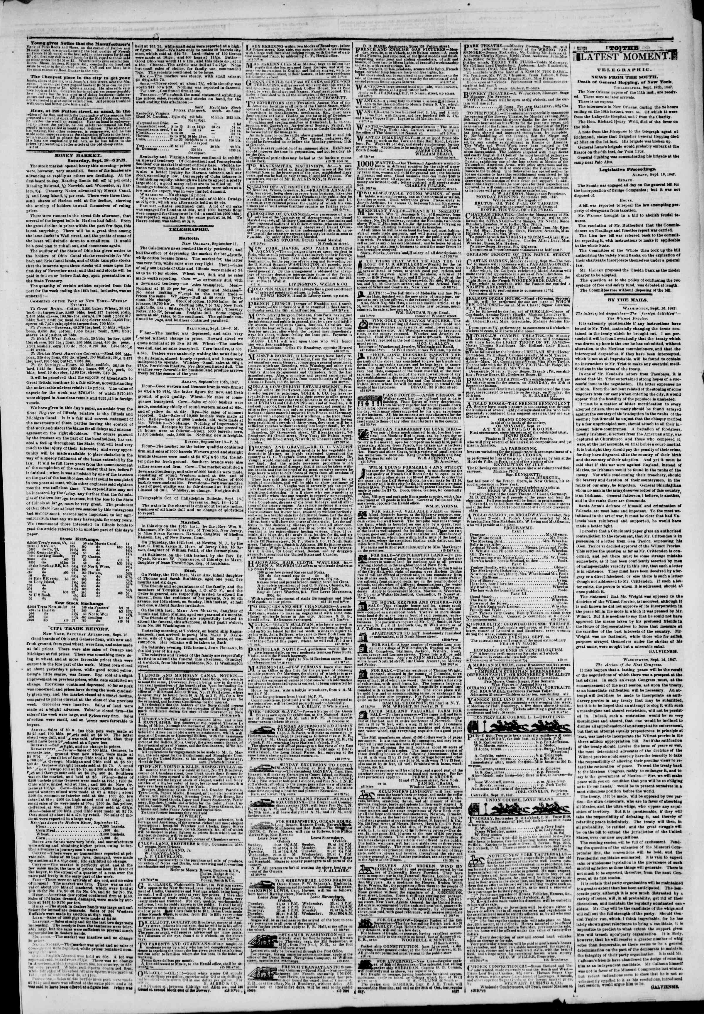 Newspaper of The New York Herald dated September 19, 1847 Page 3