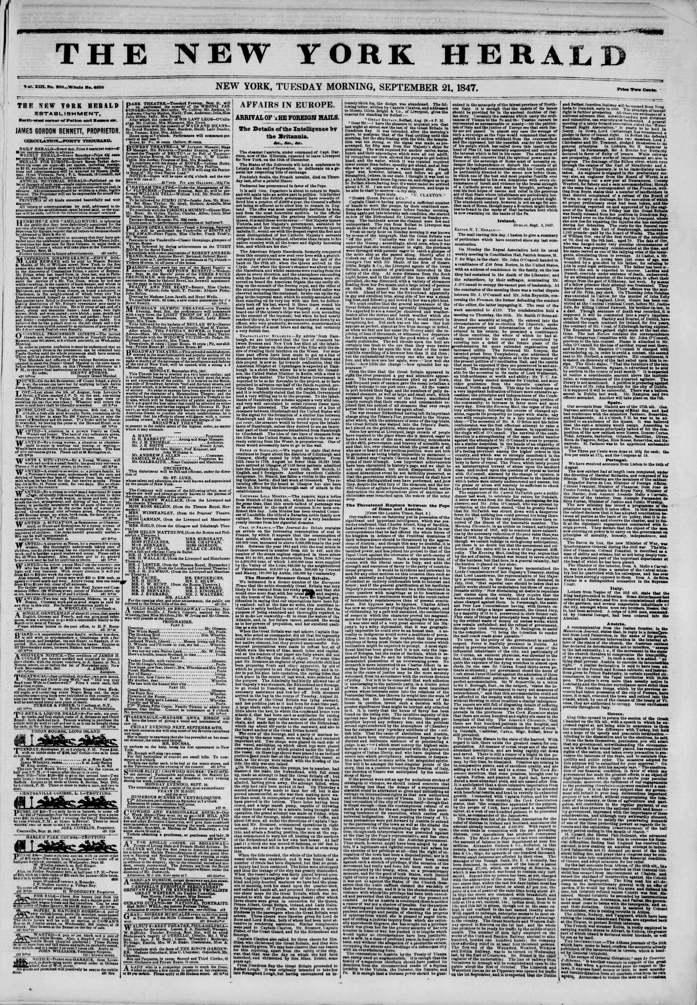 Newspaper of The New York Herald dated September 21, 1847 Page 1