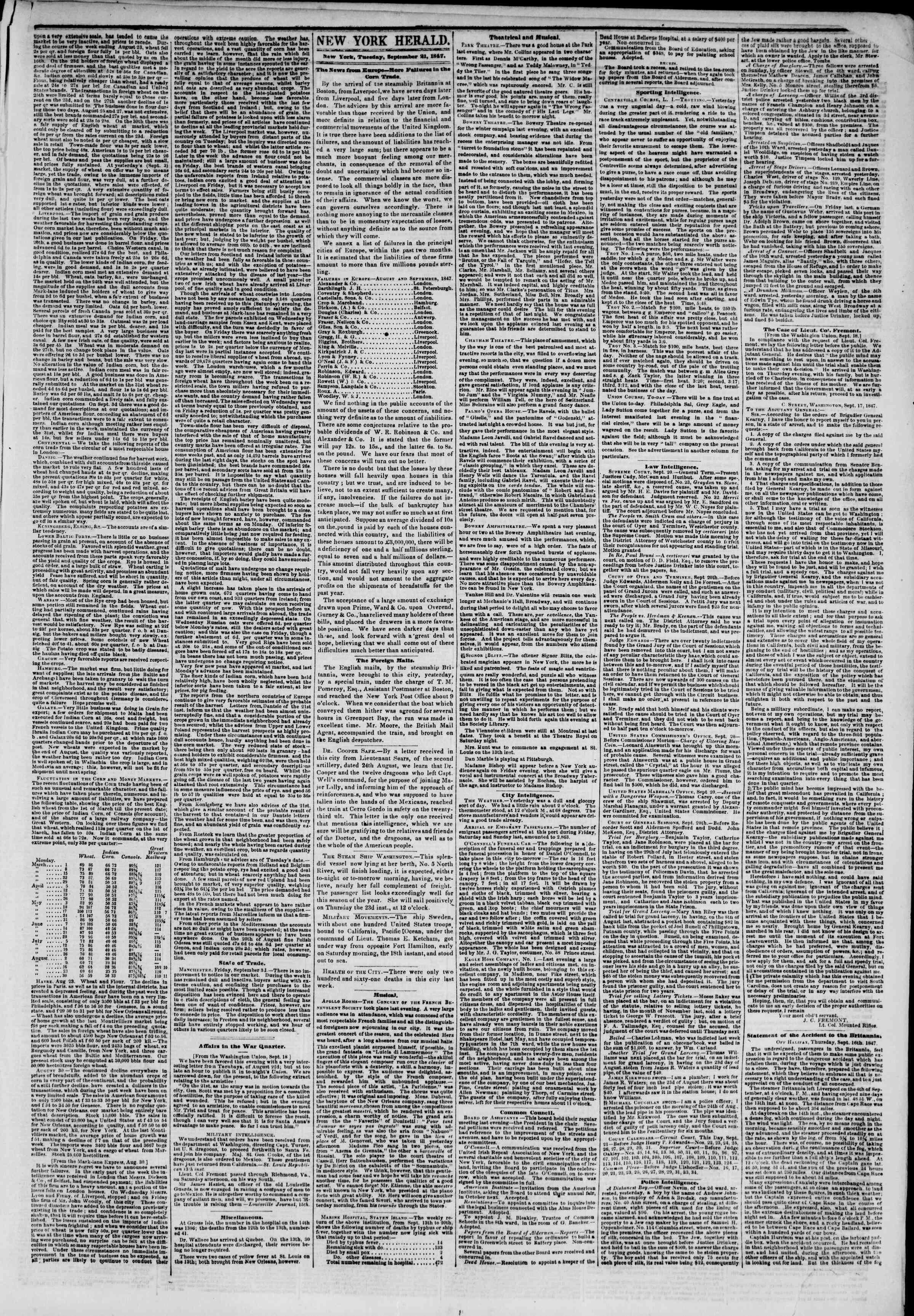Newspaper of The New York Herald dated September 21, 1847 Page 3