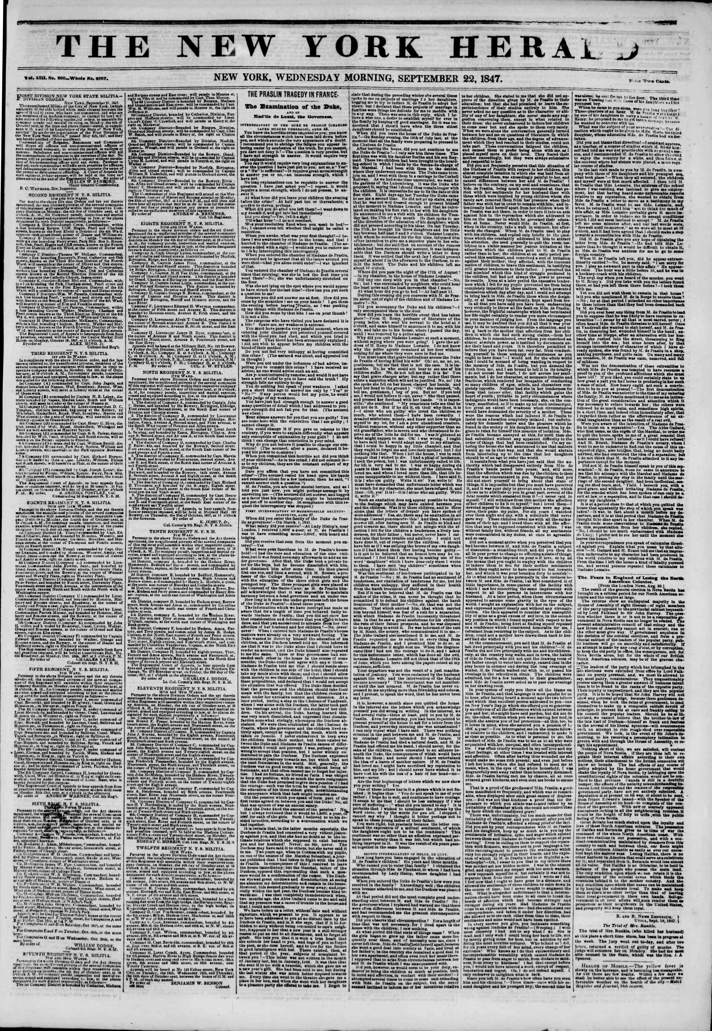Newspaper of The New York Herald dated September 22, 1847 Page 1