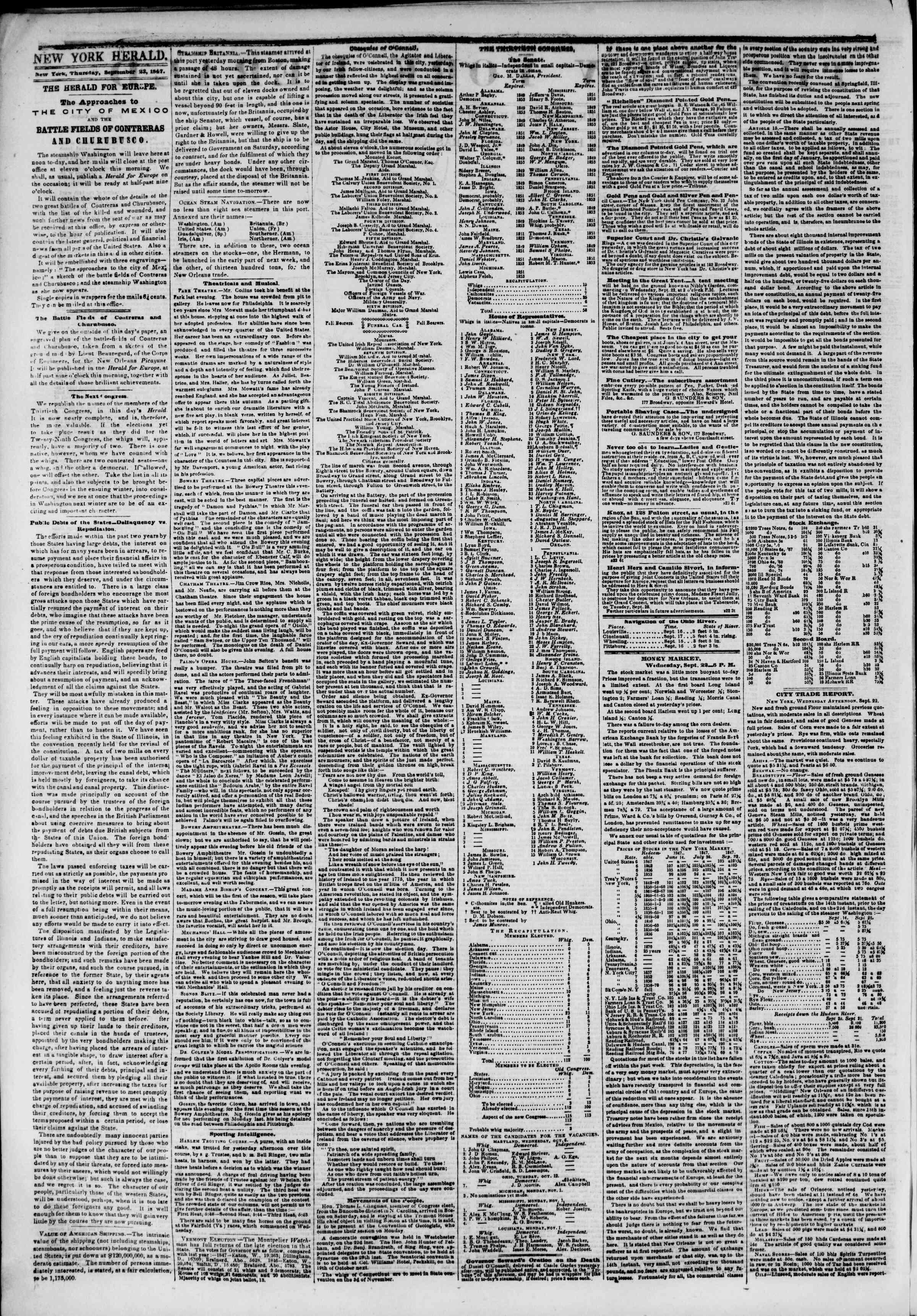 23 Eylül 1847 tarihli The New York Herald Gazetesi Sayfa 2