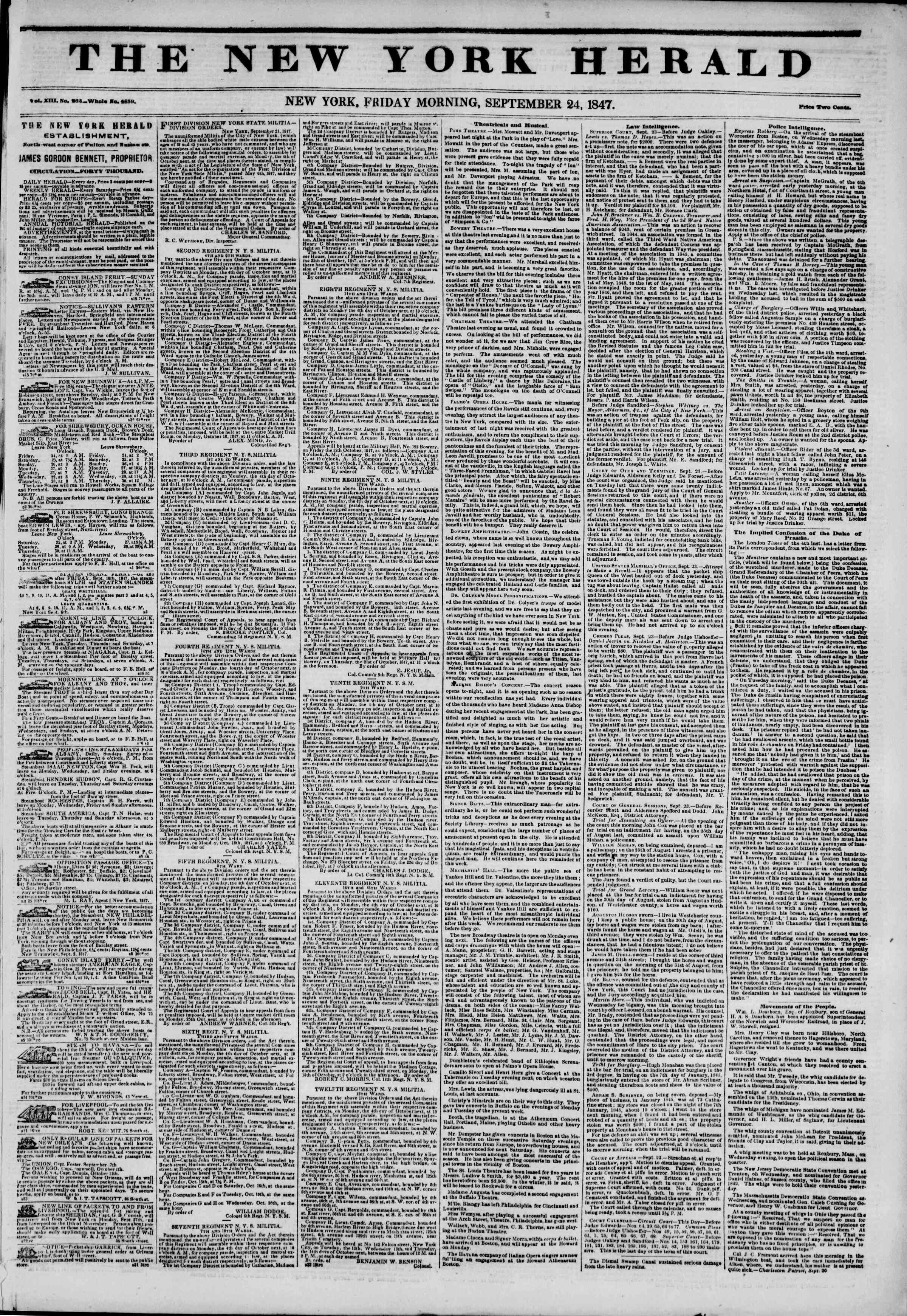Newspaper of The New York Herald dated September 24, 1847 Page 1