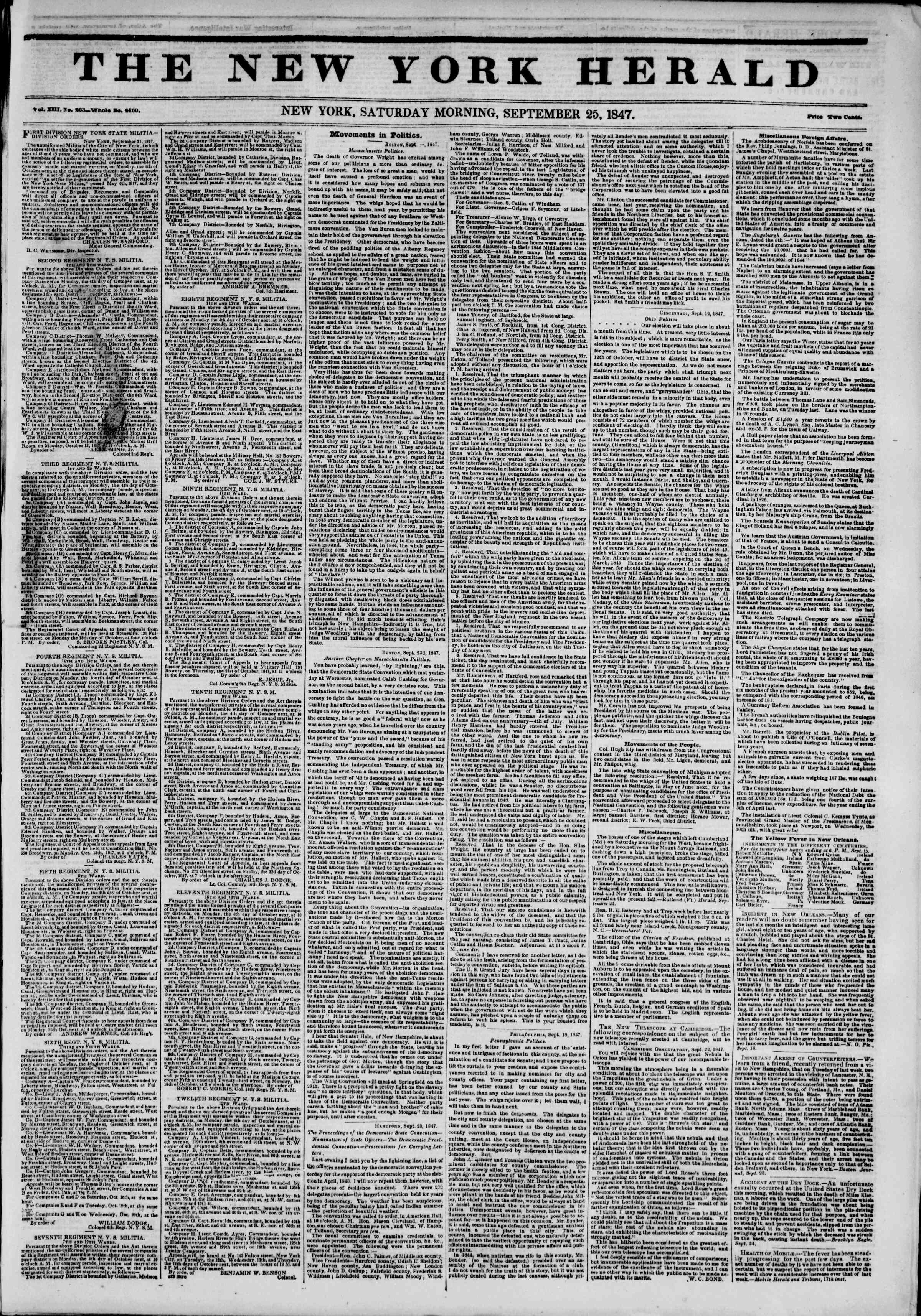 Newspaper of The New York Herald dated September 25, 1847 Page 1