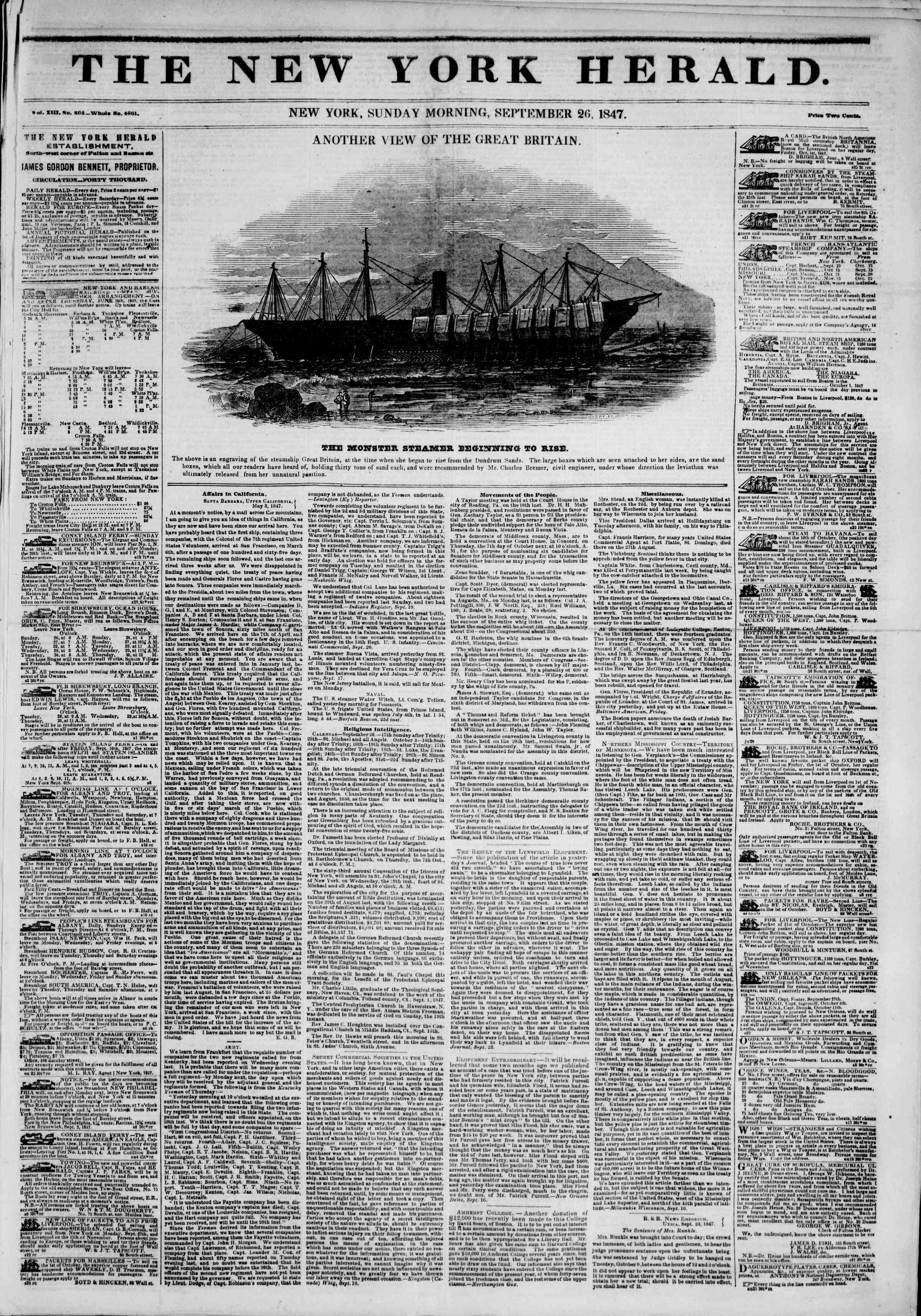 Newspaper of The New York Herald dated September 26, 1847 Page 1