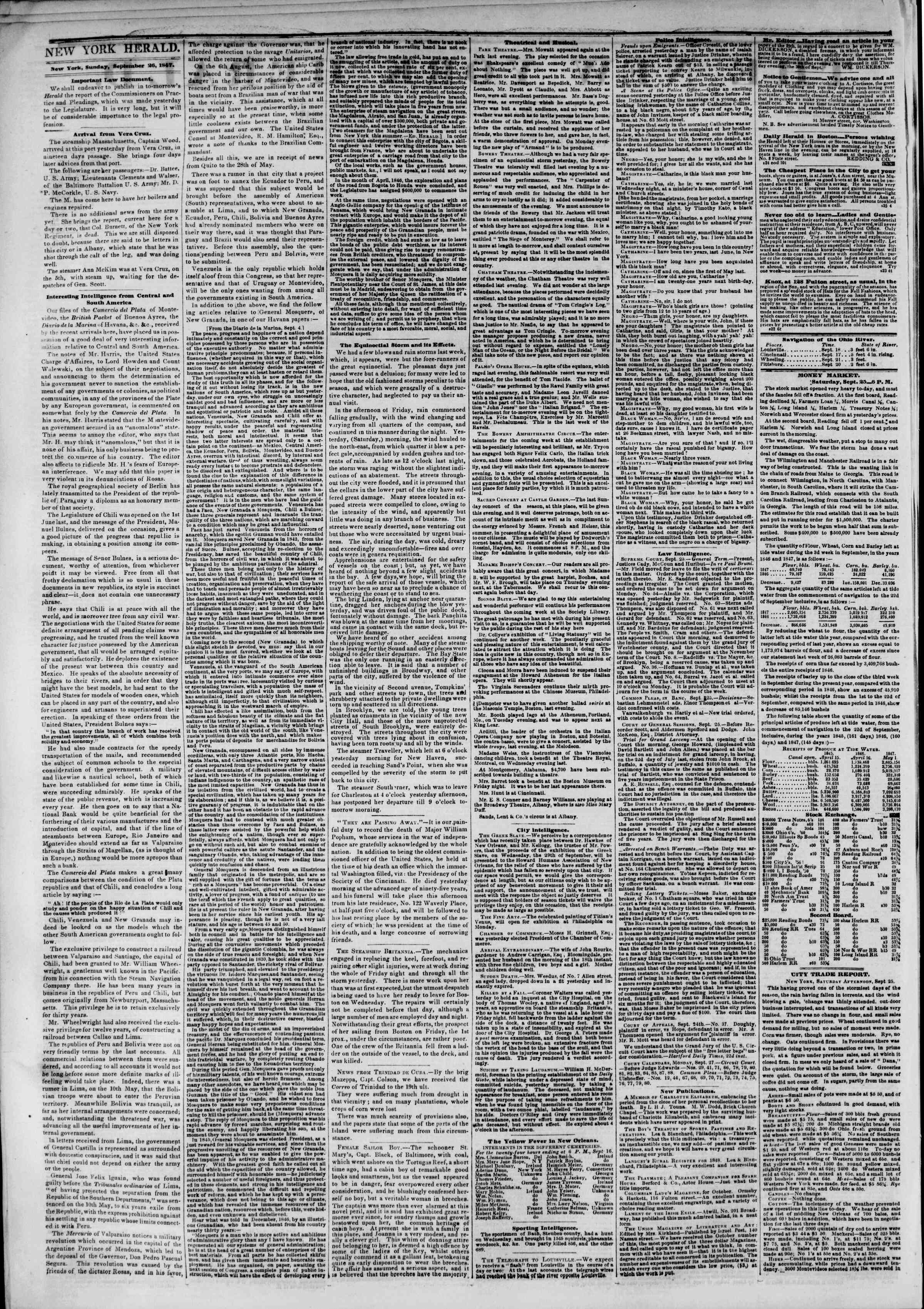Newspaper of The New York Herald dated September 26, 1847 Page 2