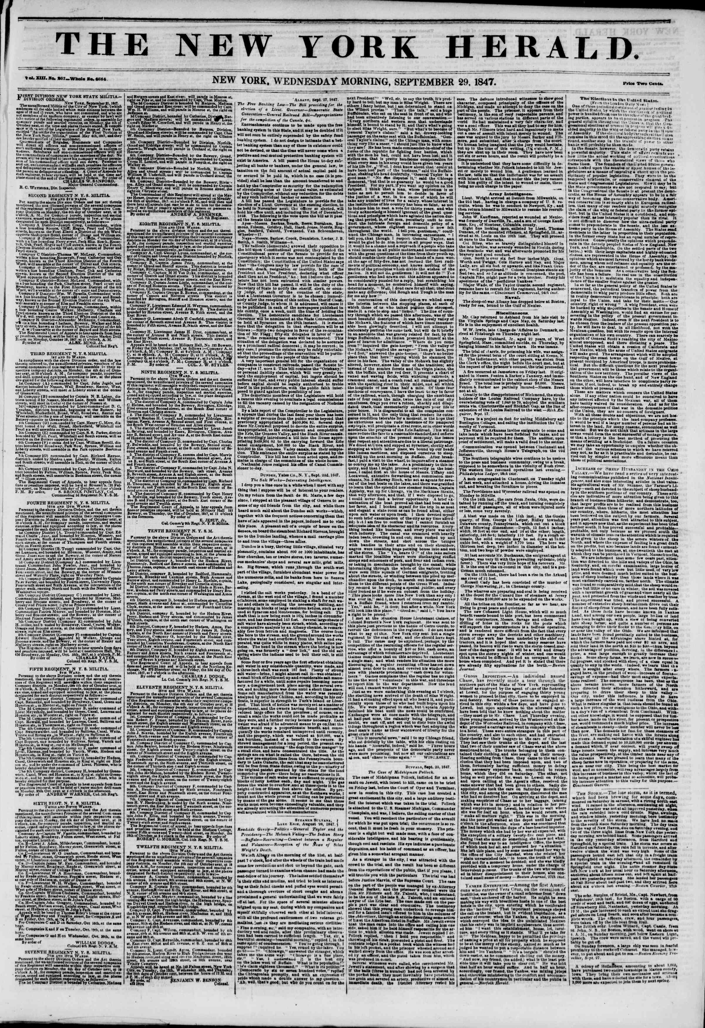 Newspaper of The New York Herald dated September 29, 1847 Page 1