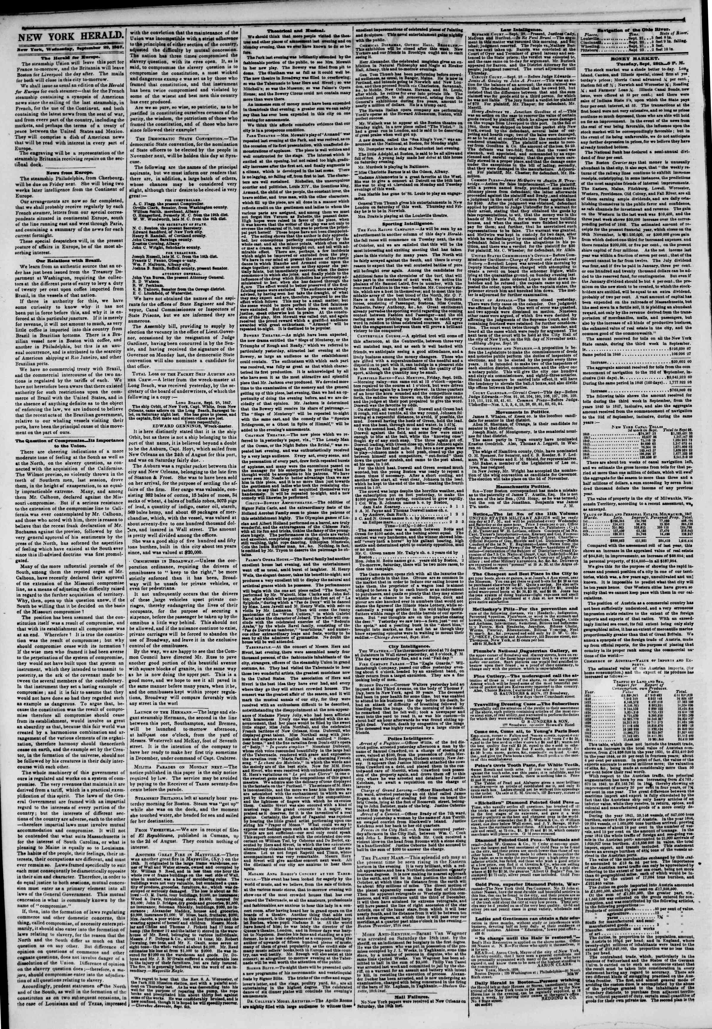 Newspaper of The New York Herald dated September 29, 1847 Page 2
