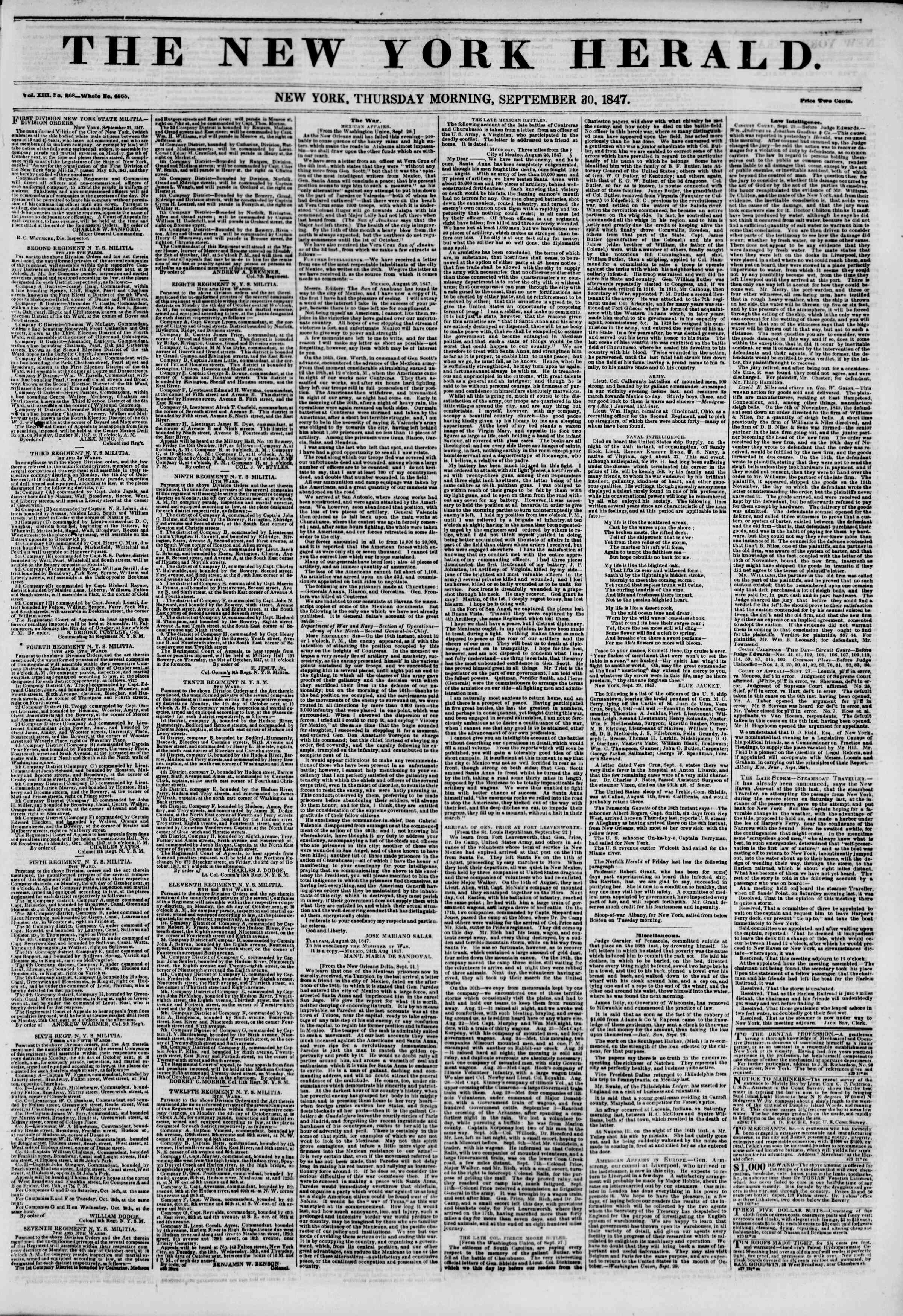 Newspaper of The New York Herald dated September 30, 1847 Page 1