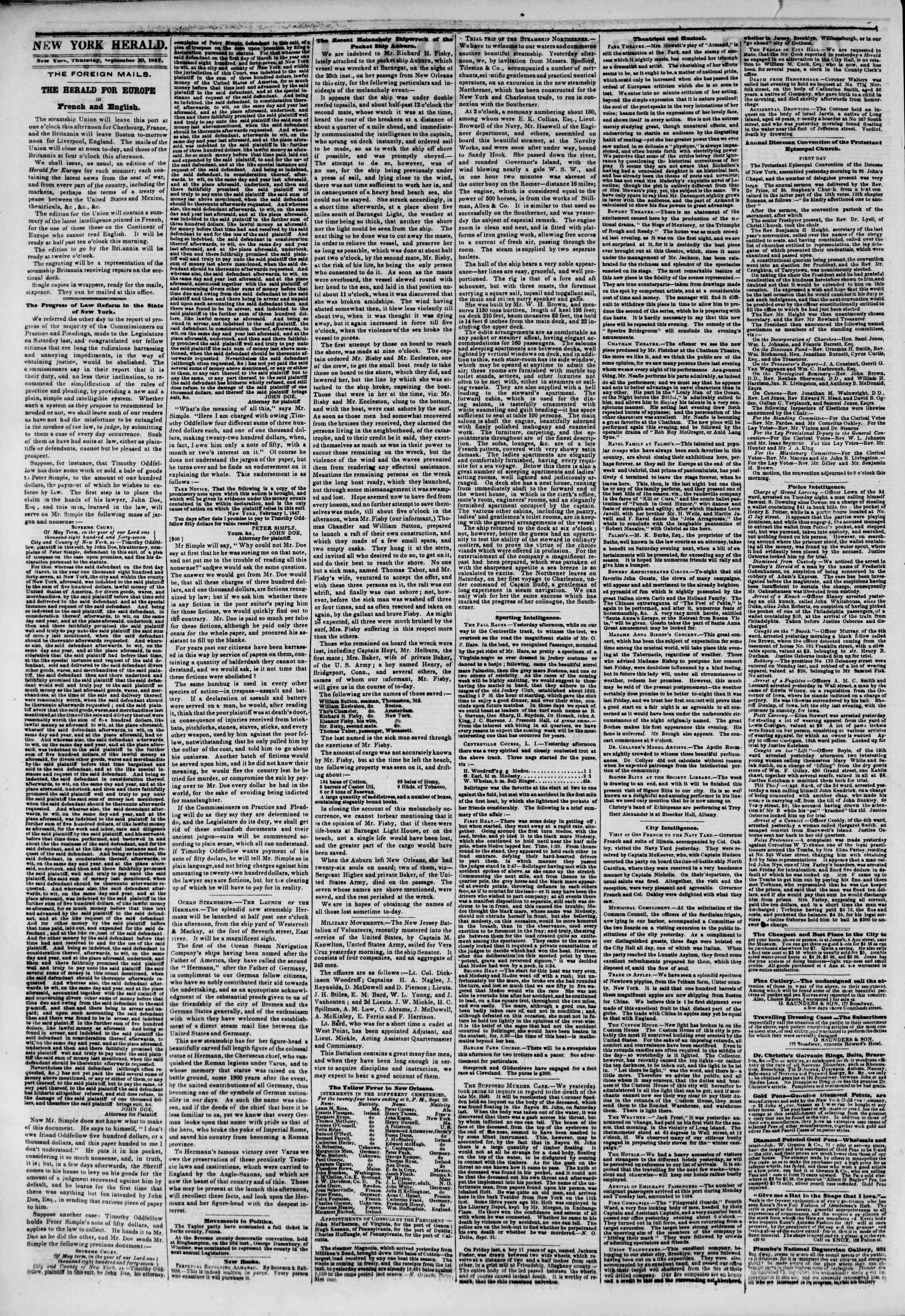 Newspaper of The New York Herald dated September 30, 1847 Page 2