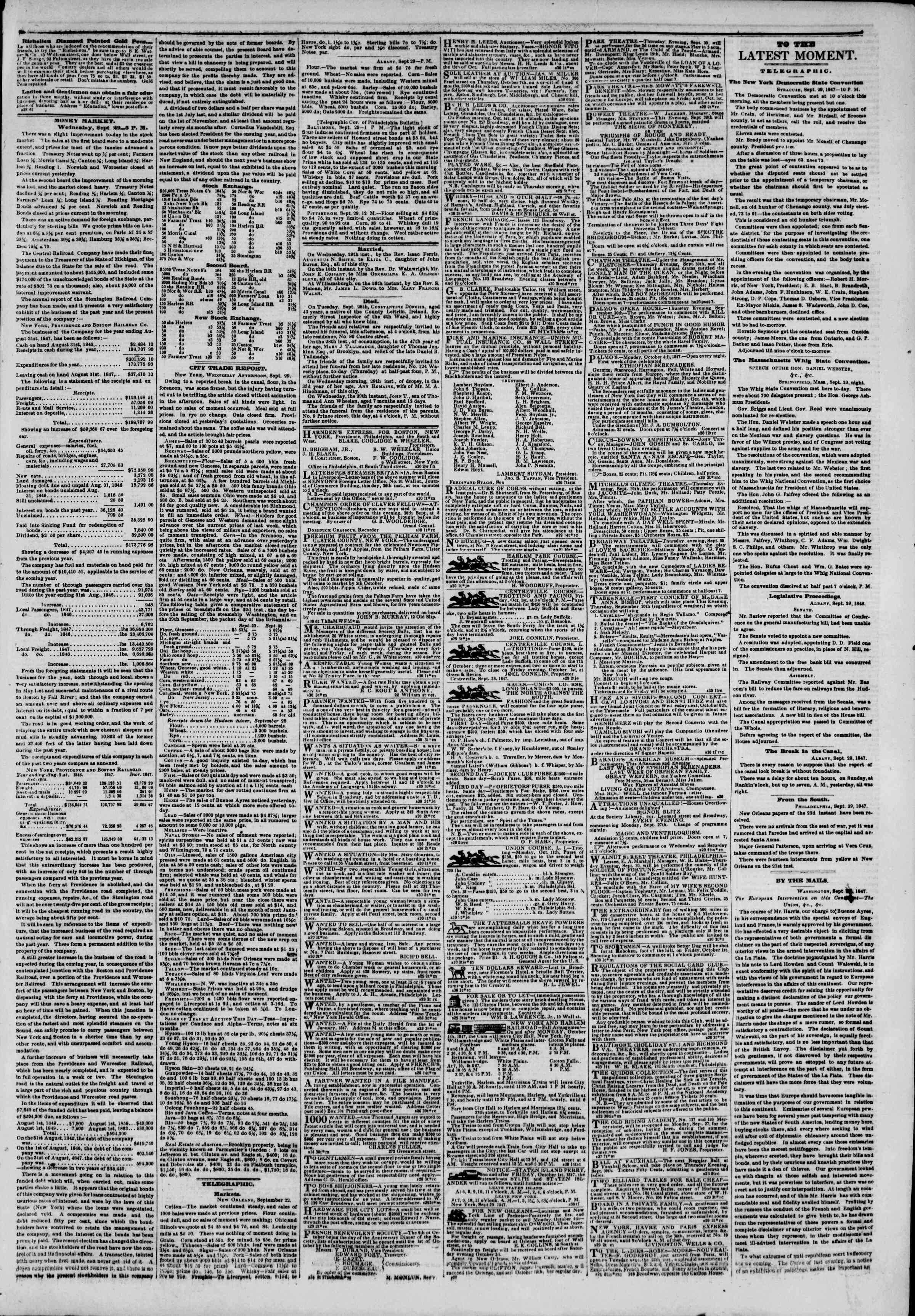 Newspaper of The New York Herald dated September 30, 1847 Page 3