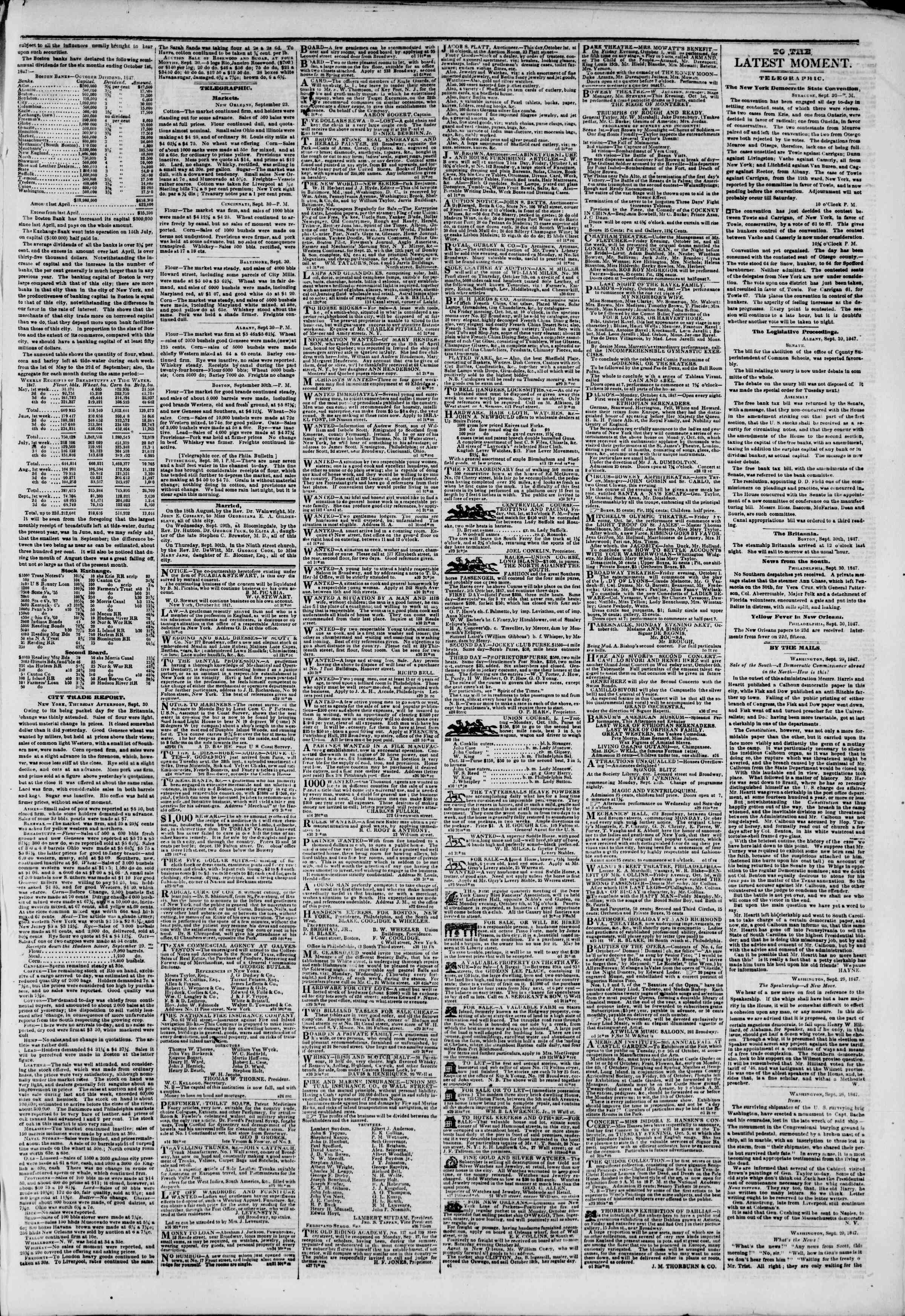 Newspaper of The New York Herald dated October 1, 1847 Page 3