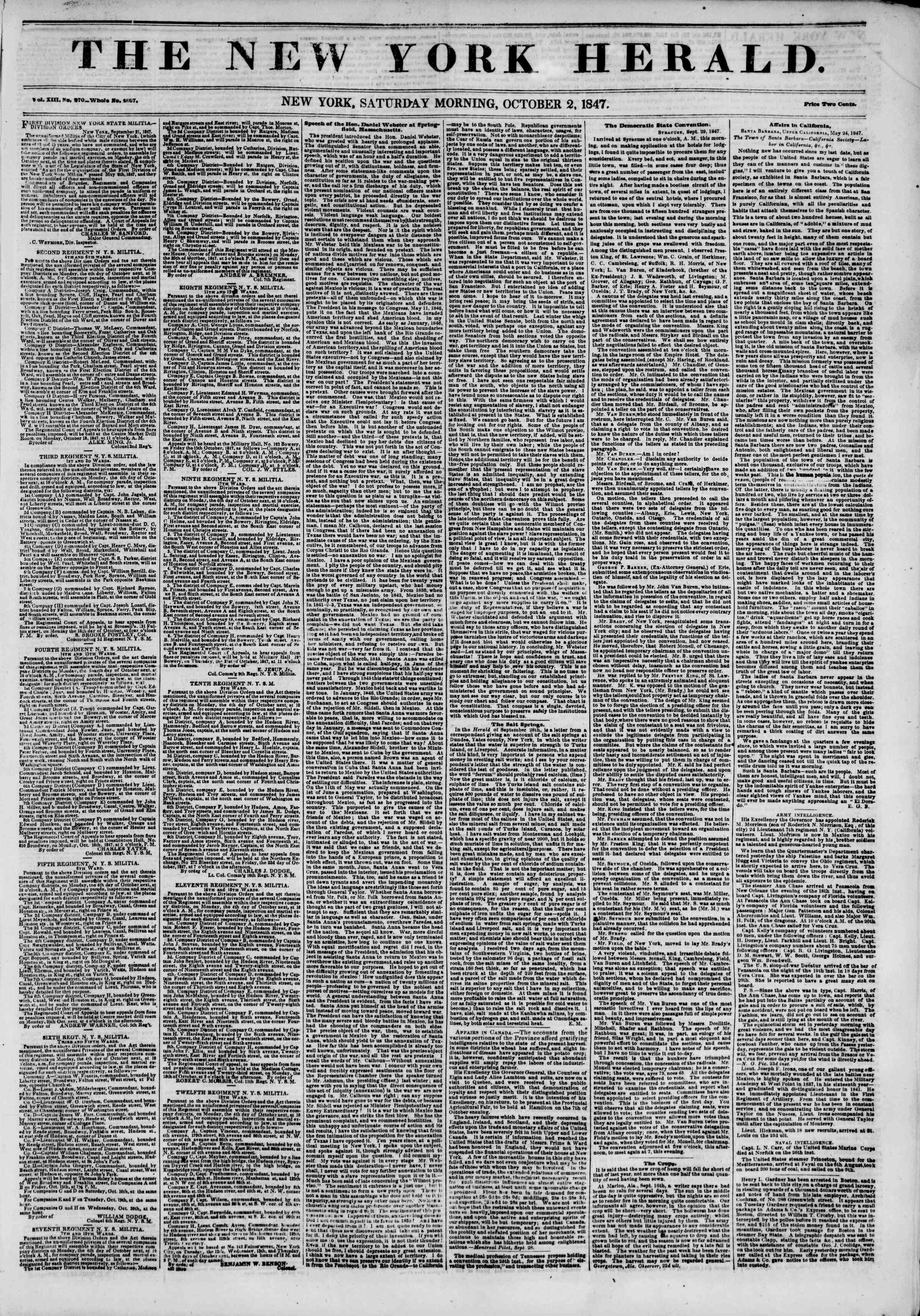 Newspaper of The New York Herald dated October 2, 1847 Page 1