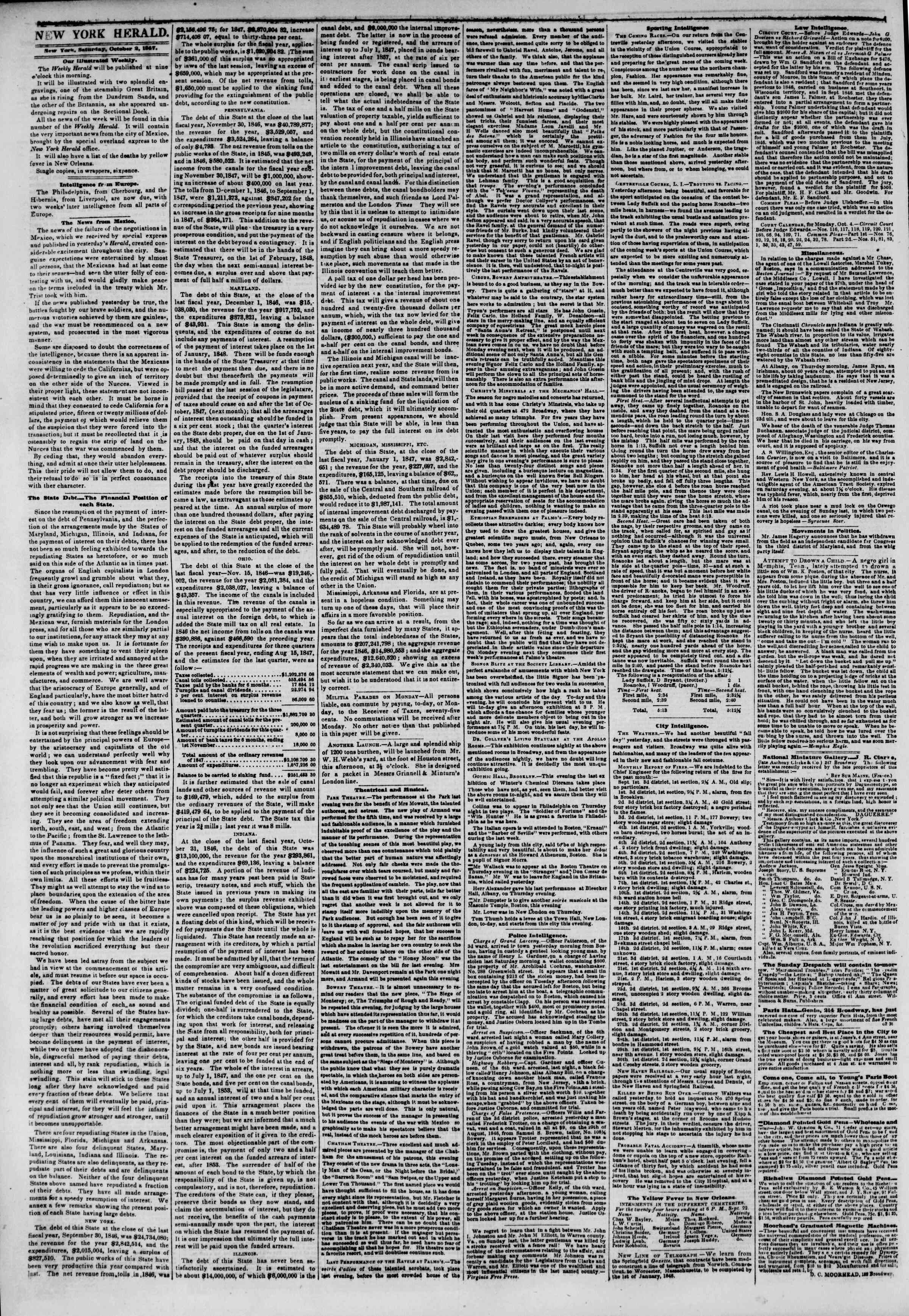 Newspaper of The New York Herald dated 2 Ekim 1847 Page 2