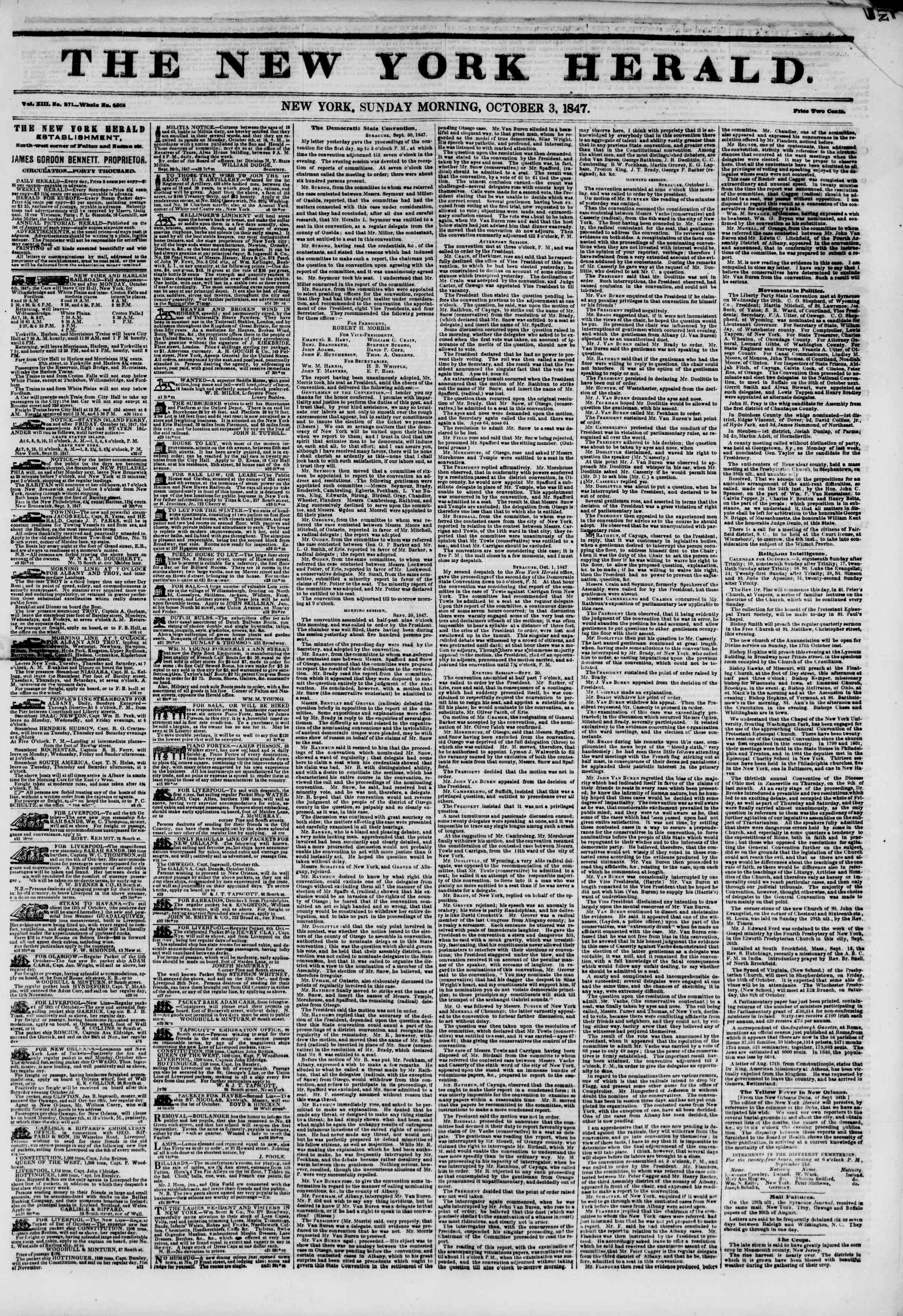 Newspaper of The New York Herald dated October 3, 1847 Page 1