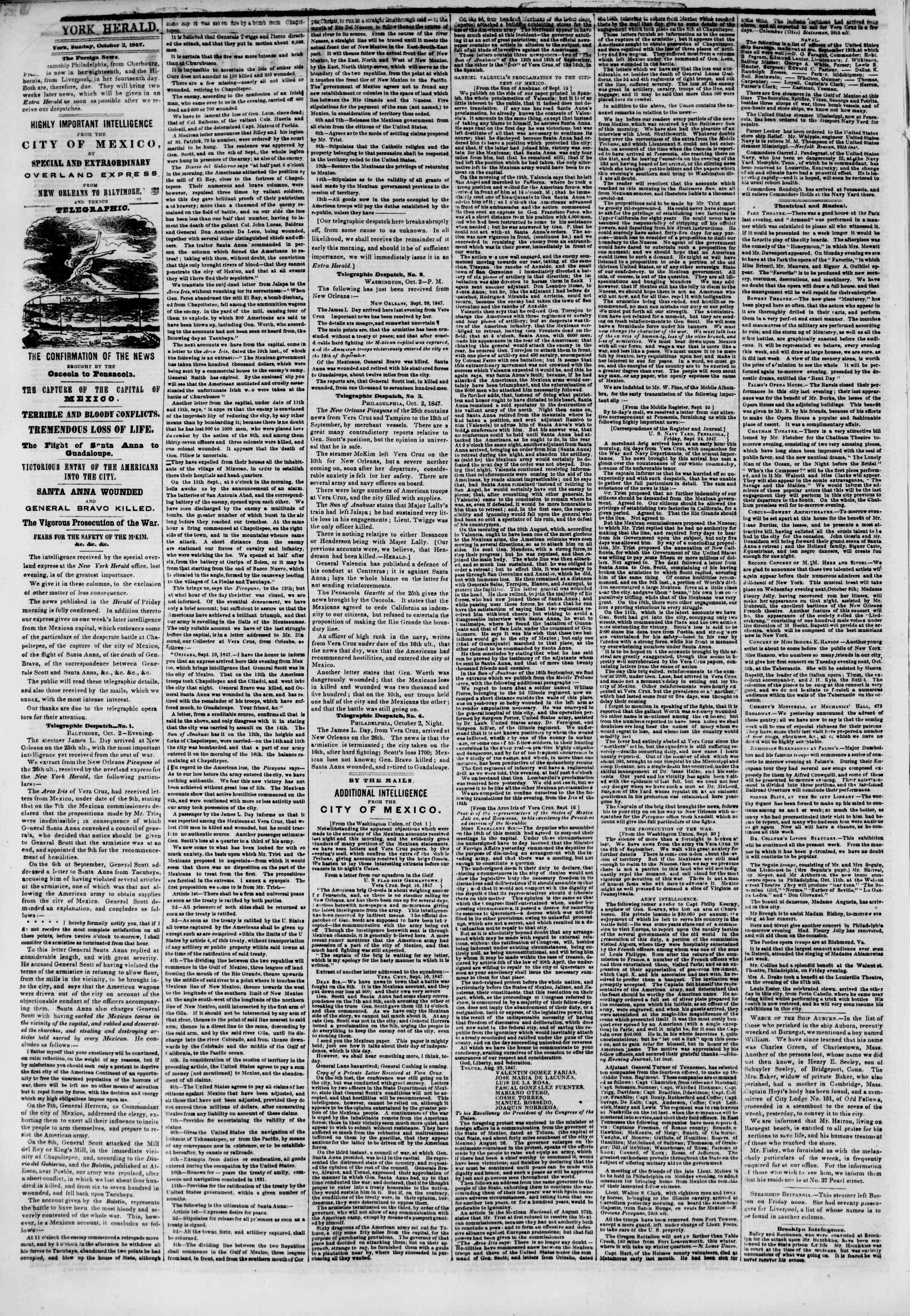 Newspaper of The New York Herald dated October 3, 1847 Page 2