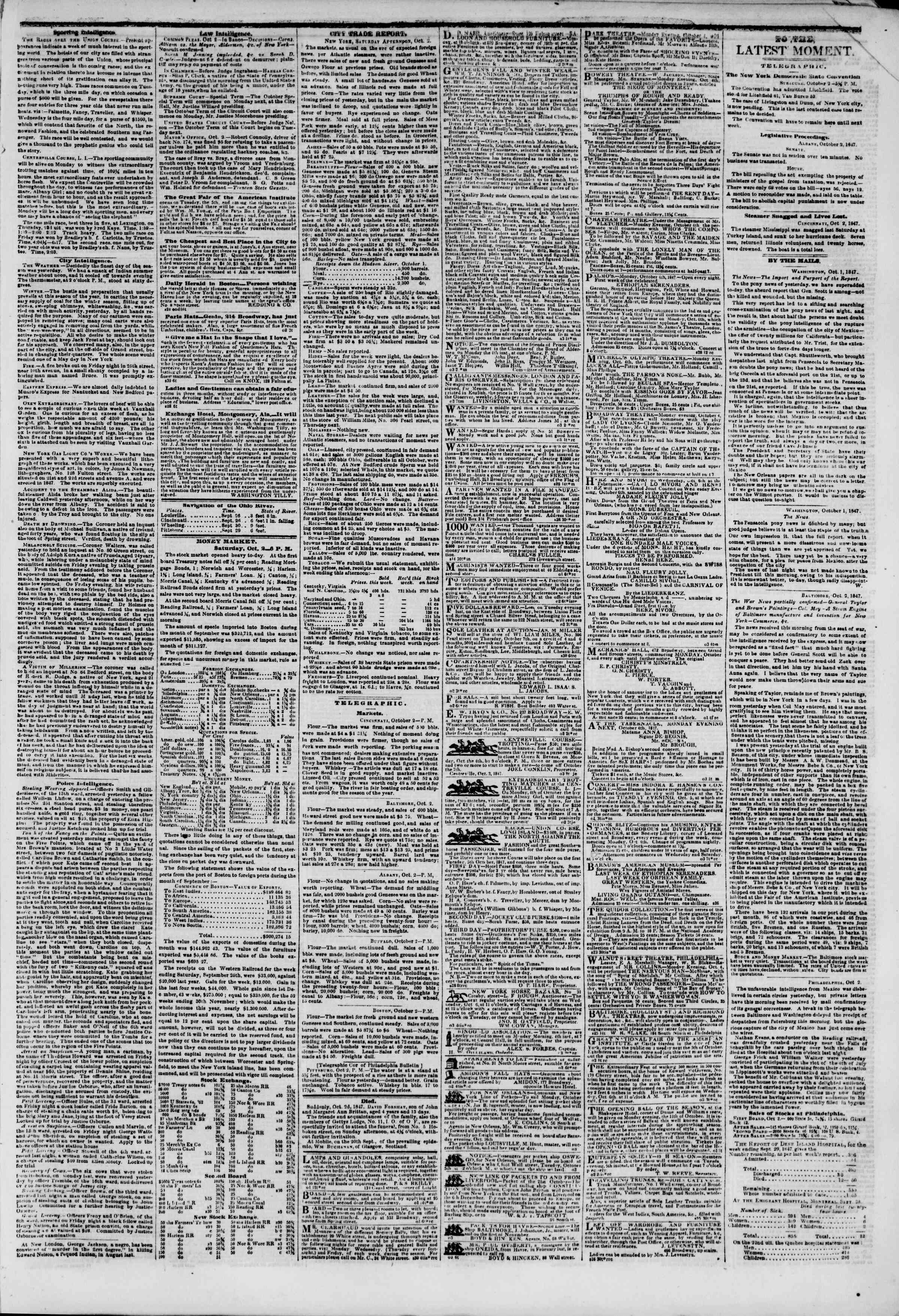Newspaper of The New York Herald dated October 3, 1847 Page 3
