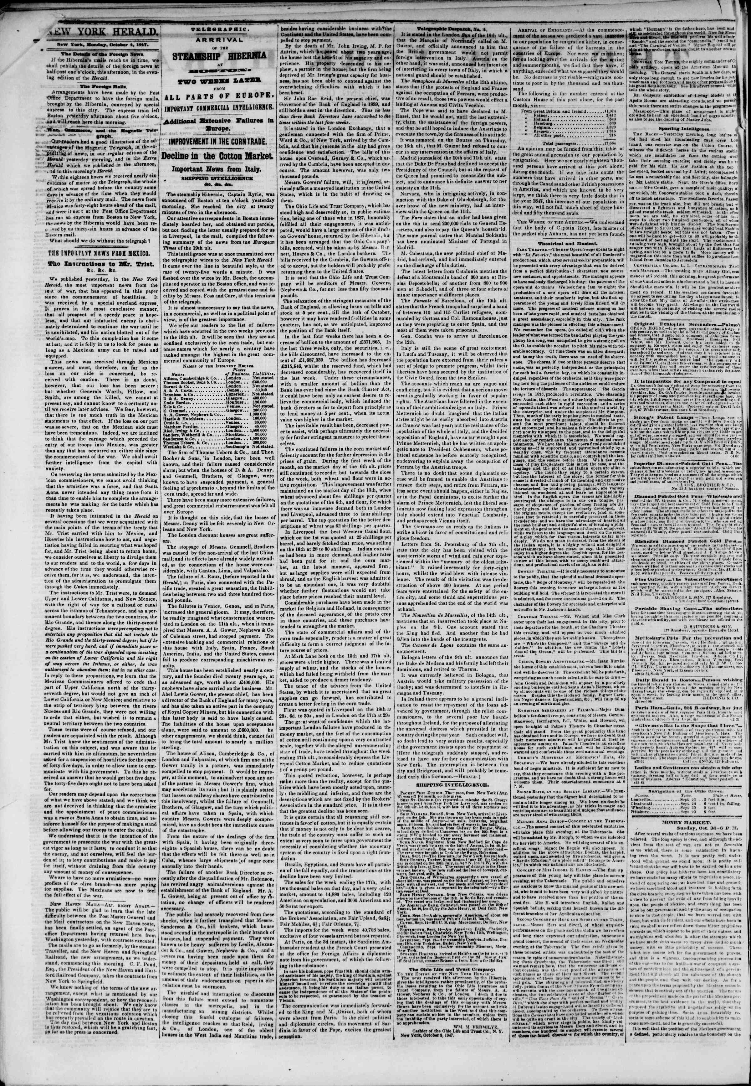 Newspaper of The New York Herald dated October 4, 1847 Page 2