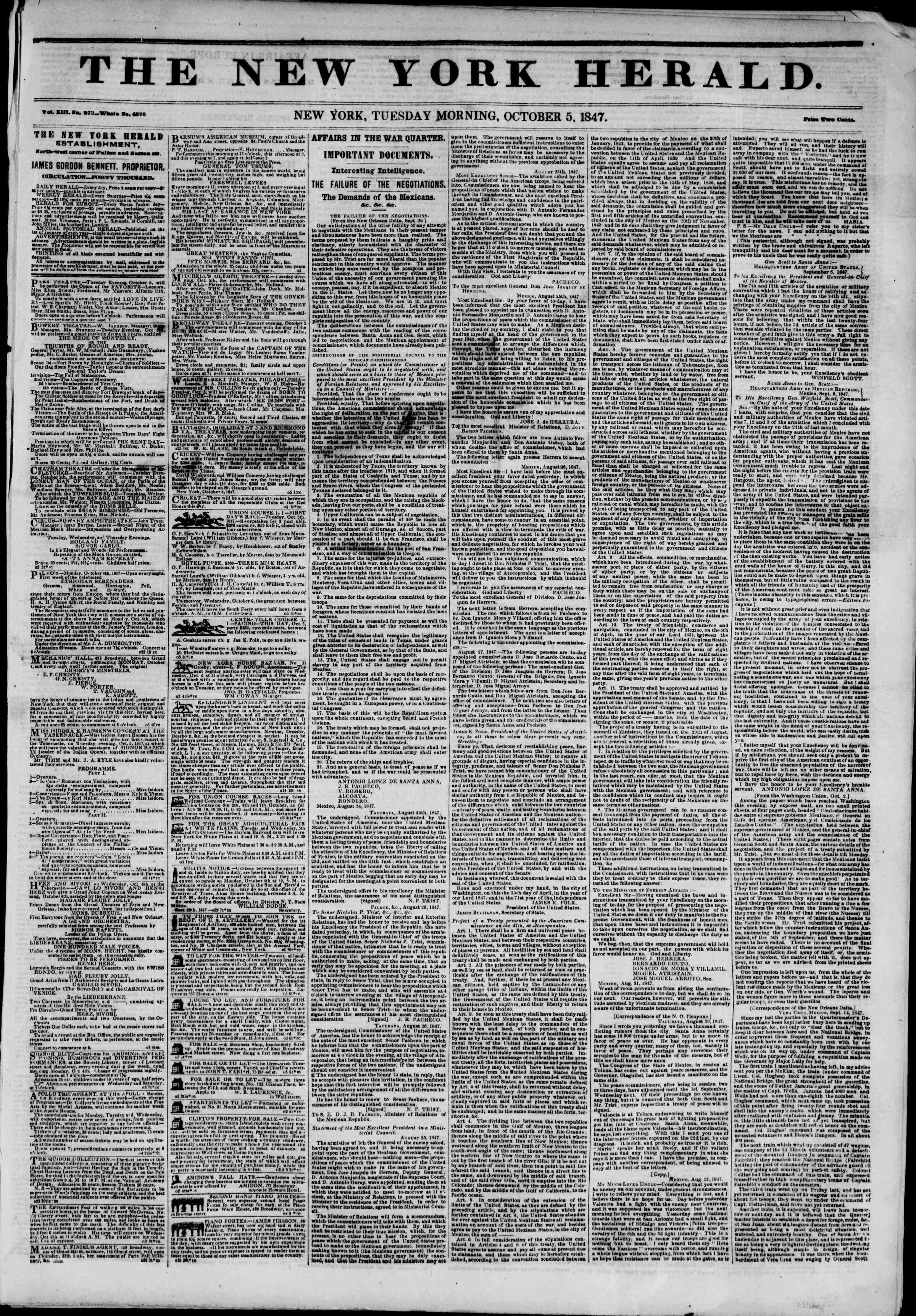 Newspaper of The New York Herald dated October 5, 1847 Page 1
