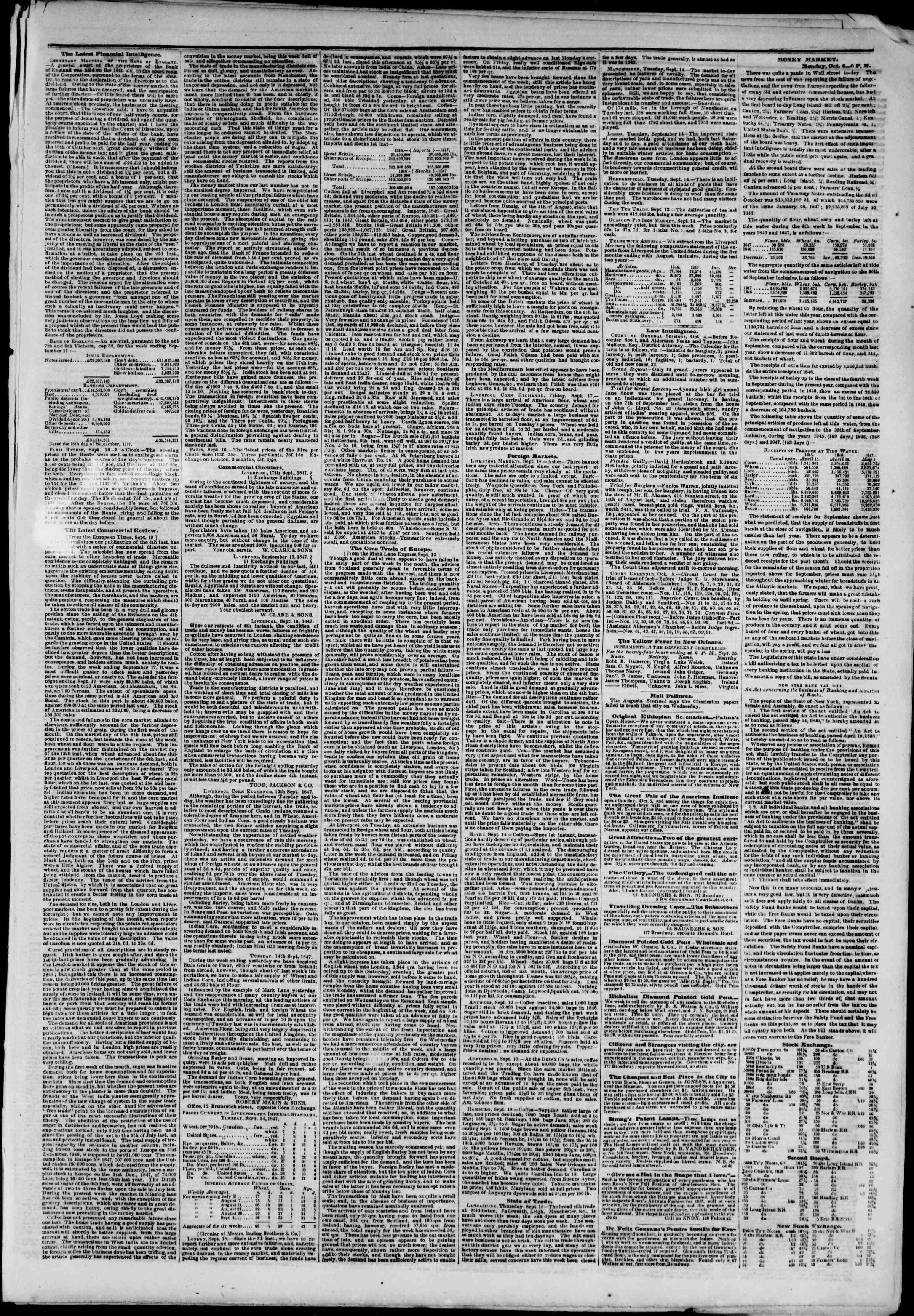 5 Ekim 1847 tarihli The New York Herald Gazetesi Sayfa 3