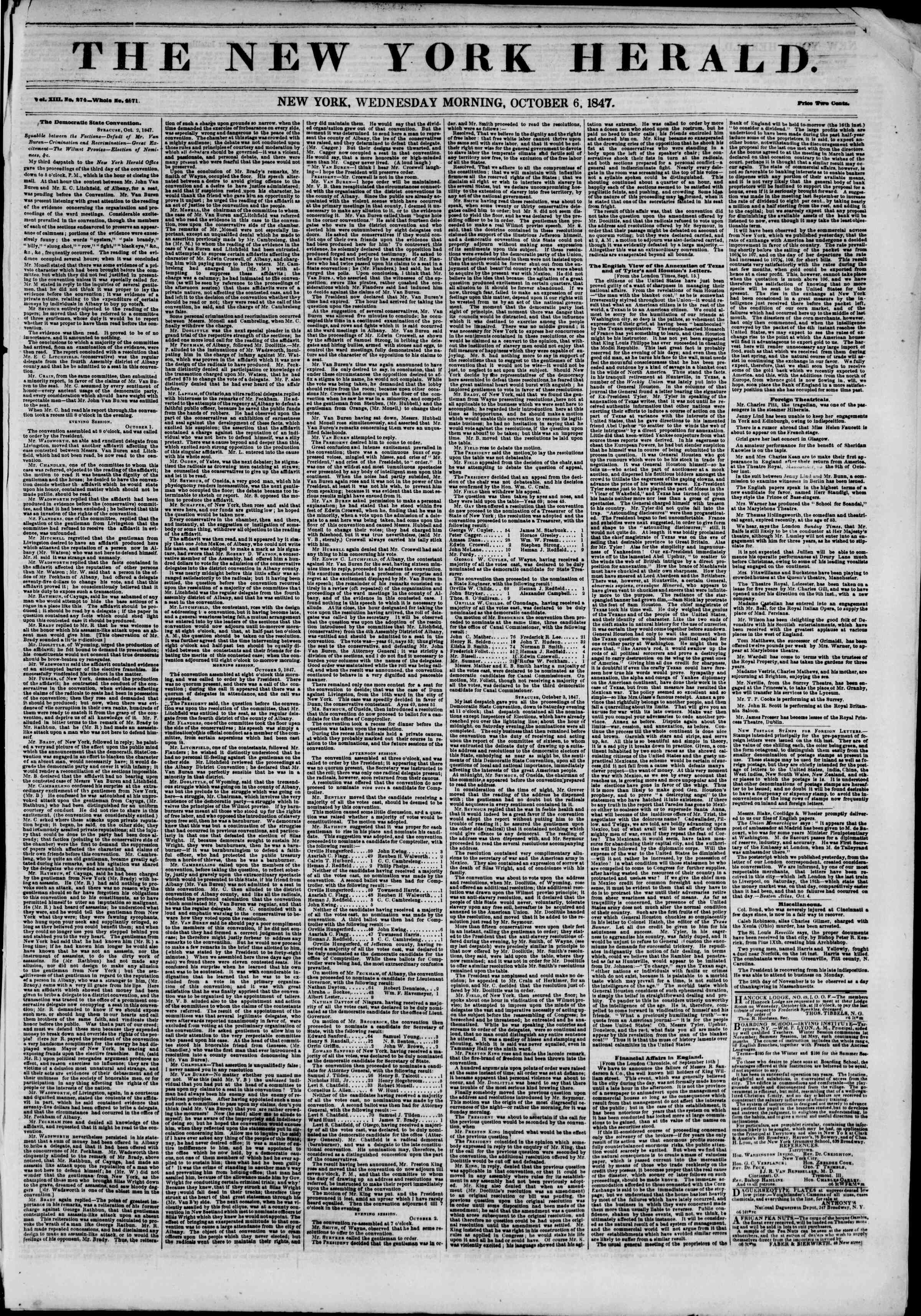 Newspaper of The New York Herald dated October 6, 1847 Page 1
