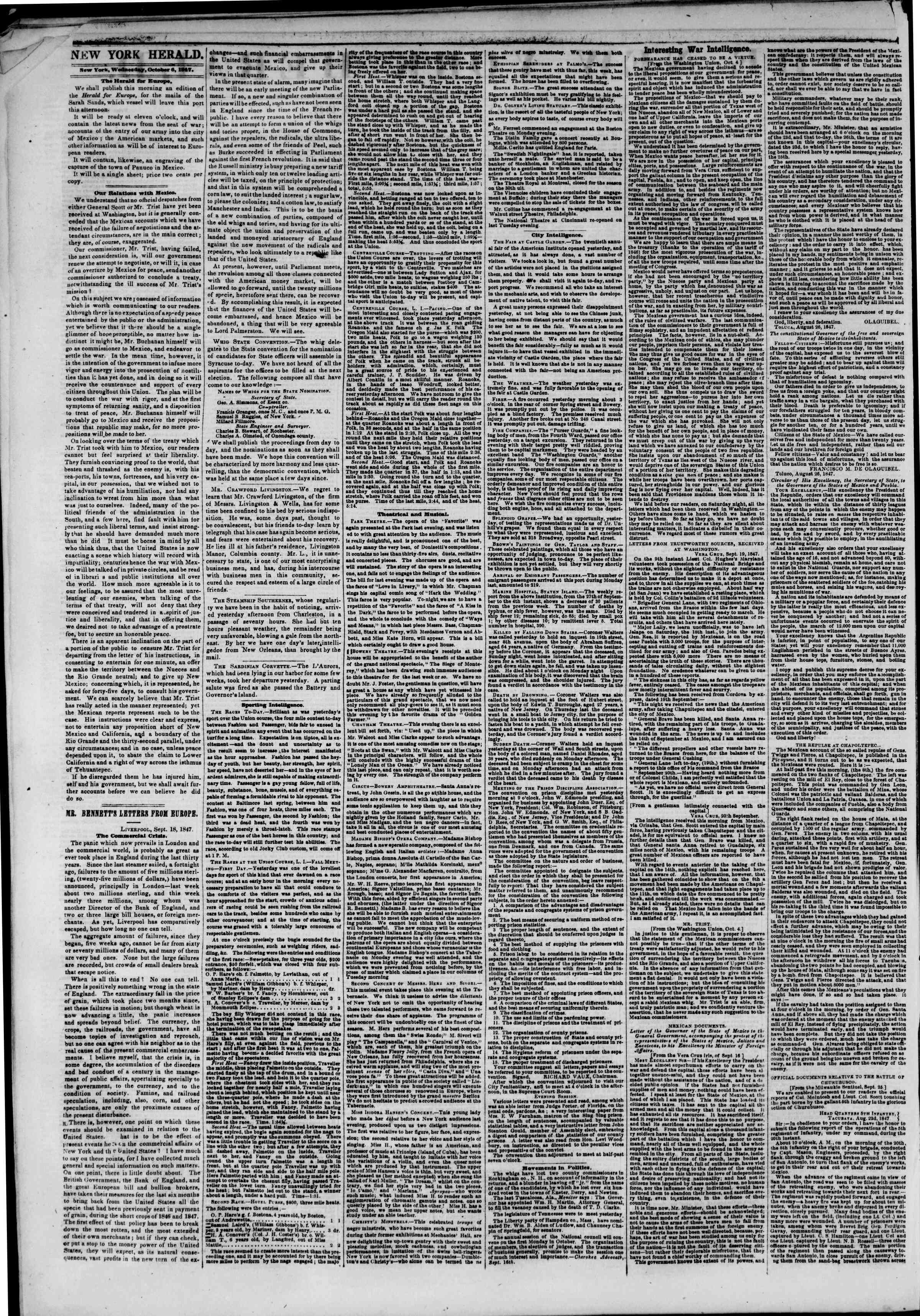 Newspaper of The New York Herald dated 6 Ekim 1847 Page 2