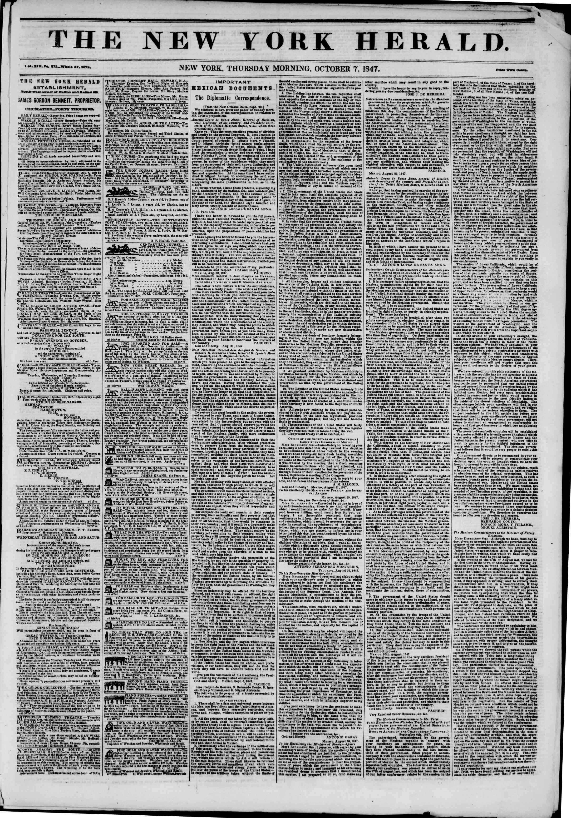 Newspaper of The New York Herald dated October 7, 1847 Page 1