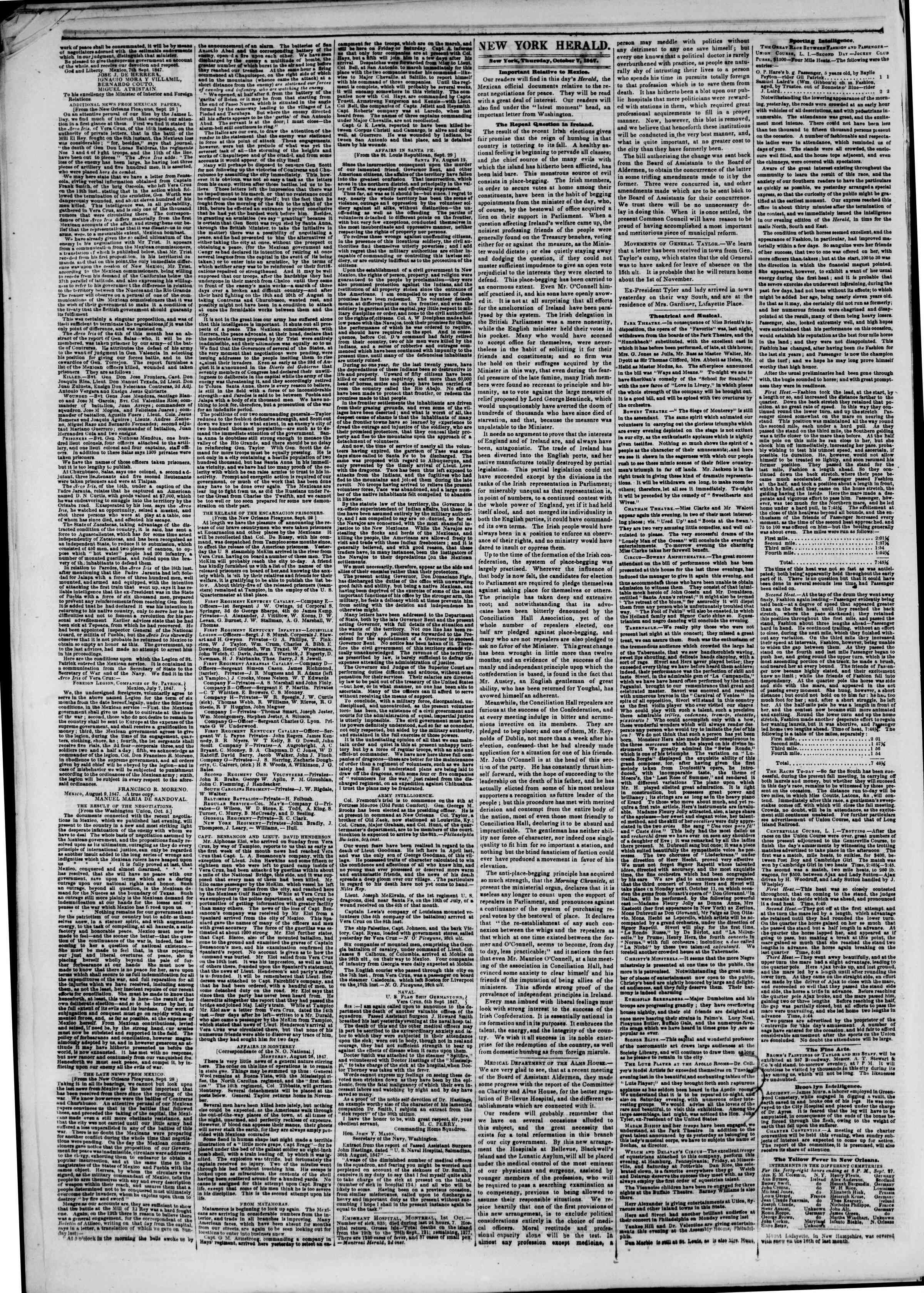 Newspaper of The New York Herald dated October 7, 1847 Page 2