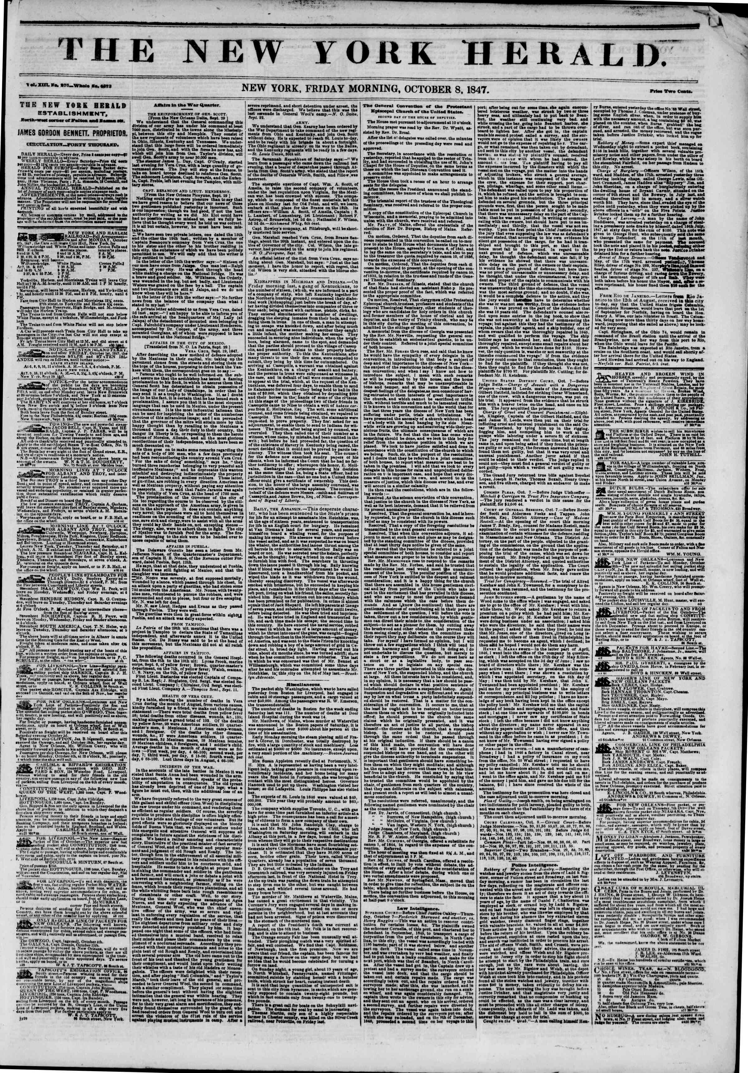 Newspaper of The New York Herald dated October 8, 1847 Page 1