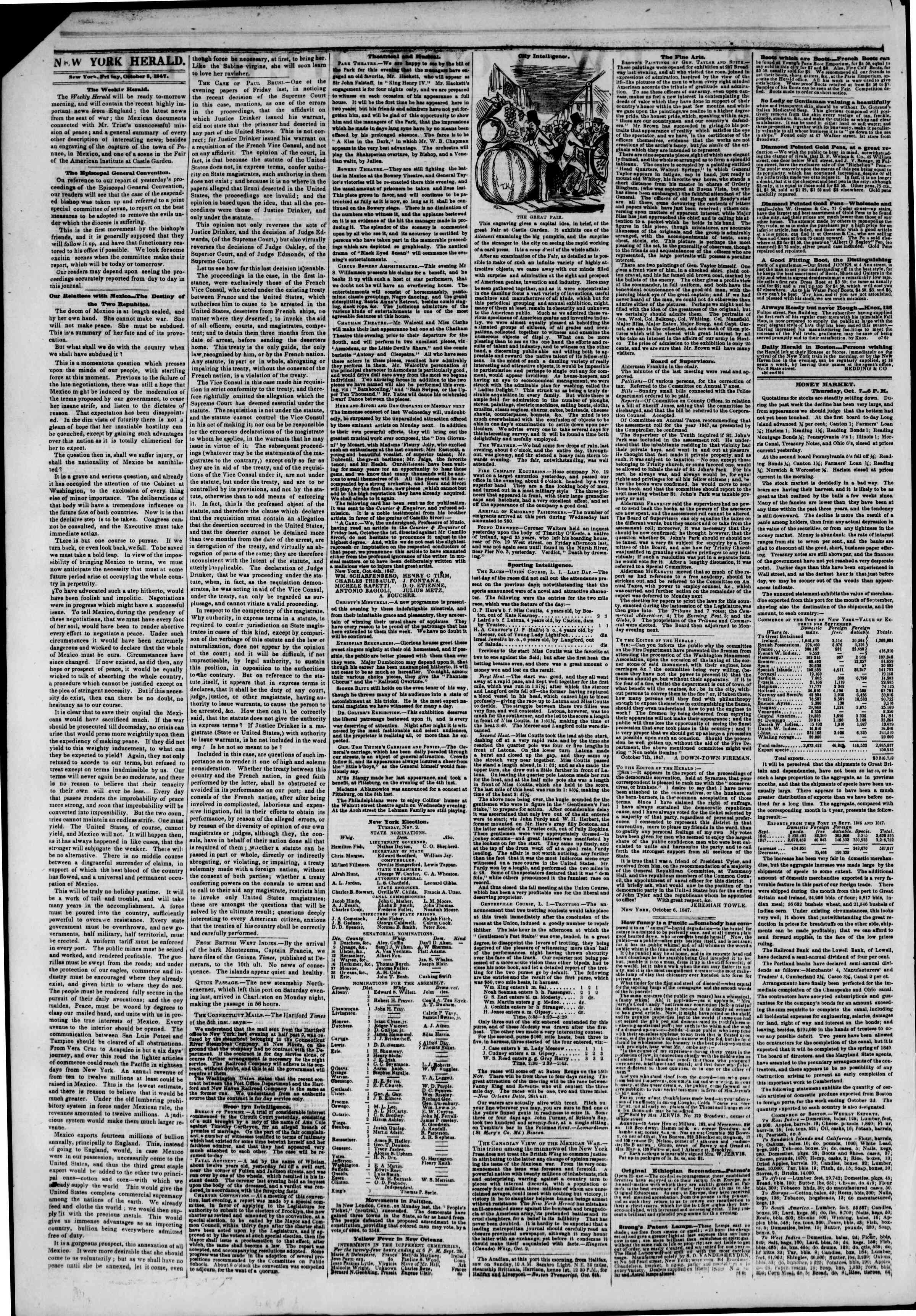 Newspaper of The New York Herald dated October 8, 1847 Page 2