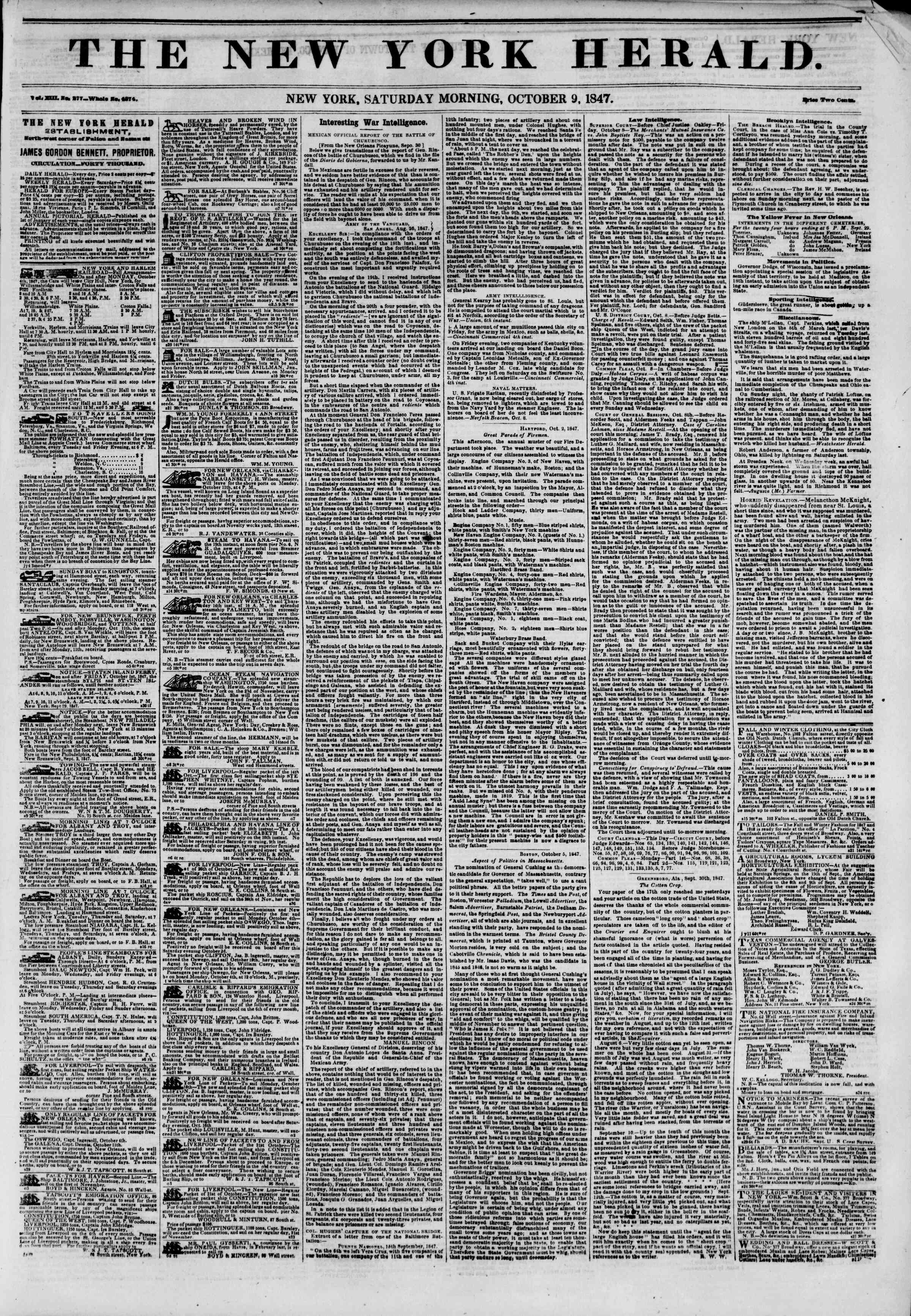 Newspaper of The New York Herald dated October 9, 1847 Page 1