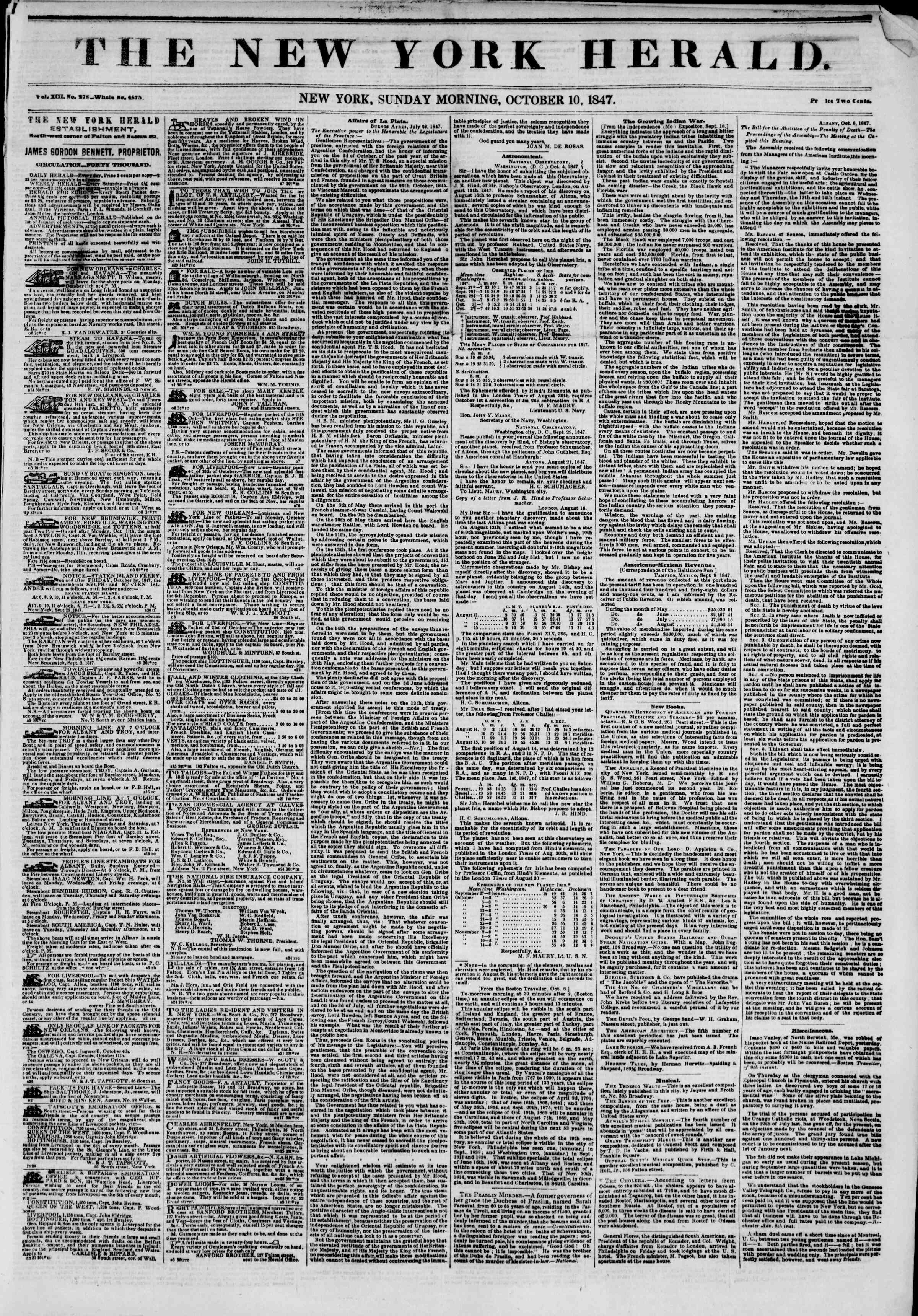 Newspaper of The New York Herald dated October 10, 1847 Page 1