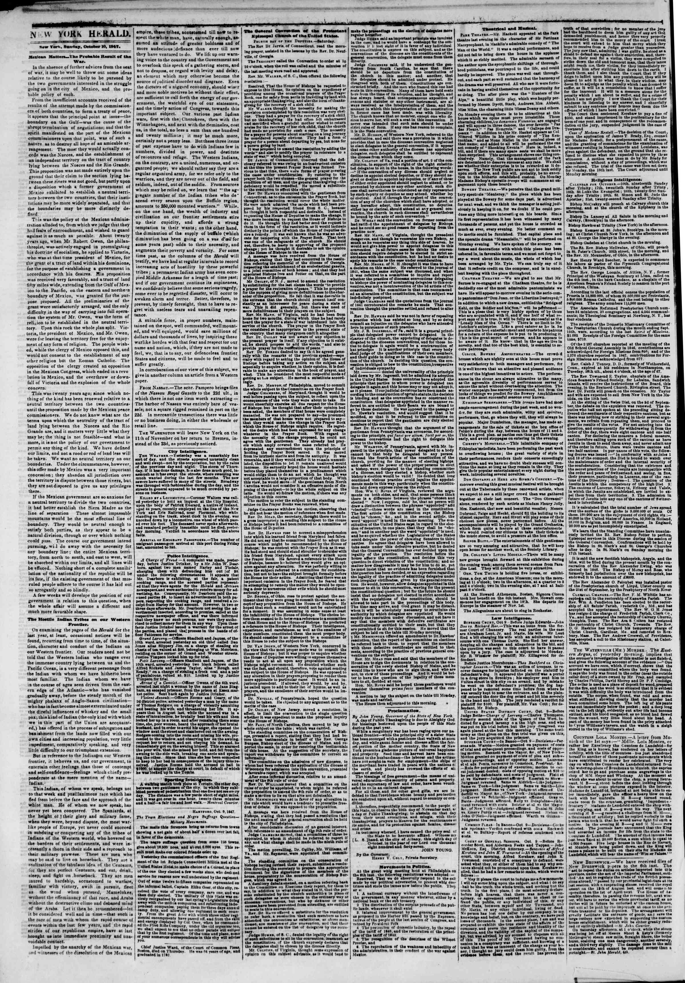 Newspaper of The New York Herald dated October 10, 1847 Page 2
