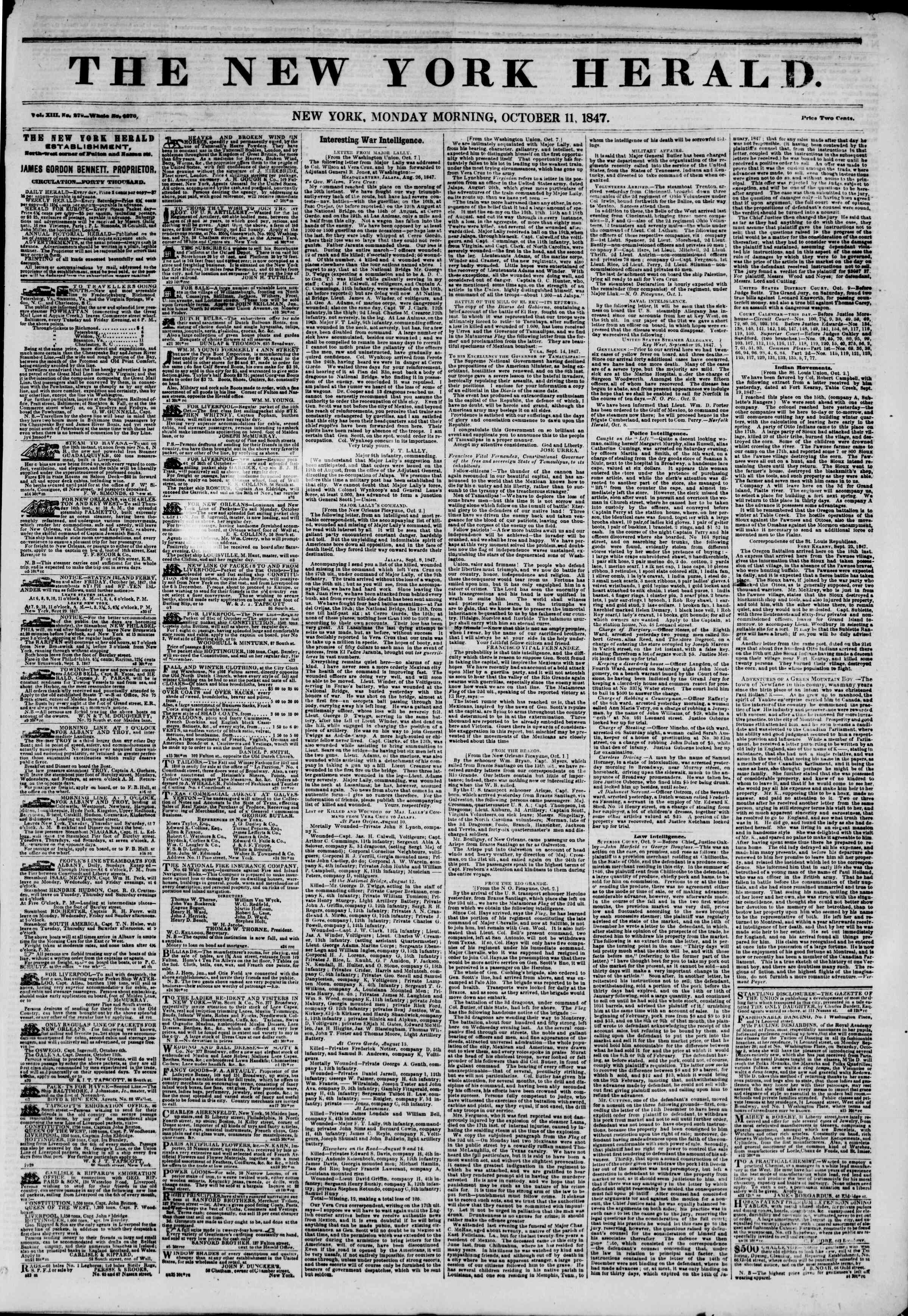 Newspaper of The New York Herald dated October 11, 1847 Page 1