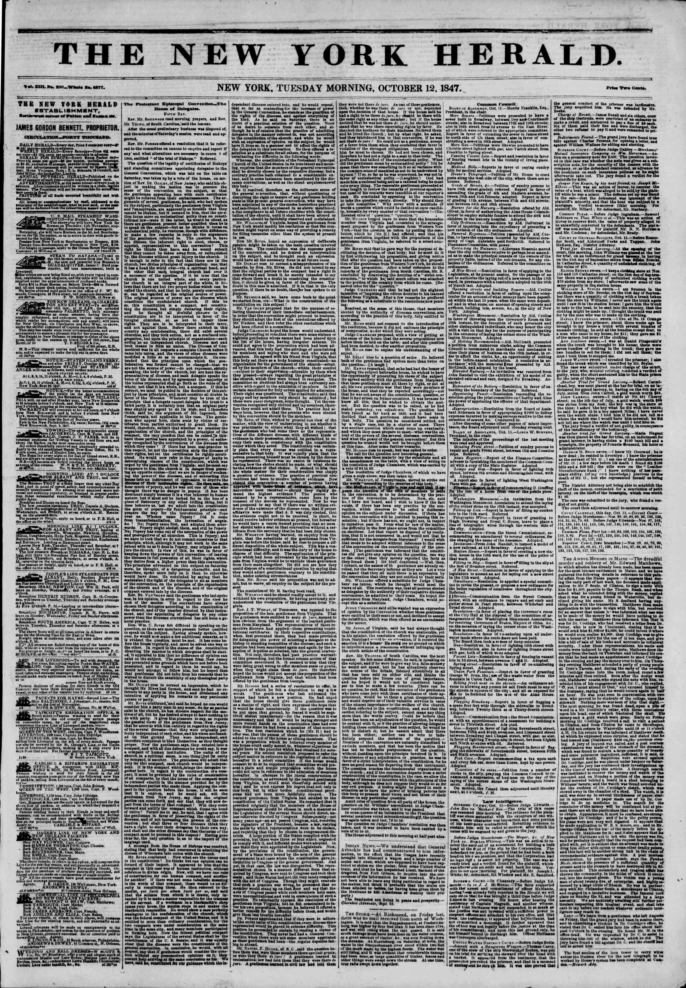 Newspaper of The New York Herald dated October 12, 1847 Page 1