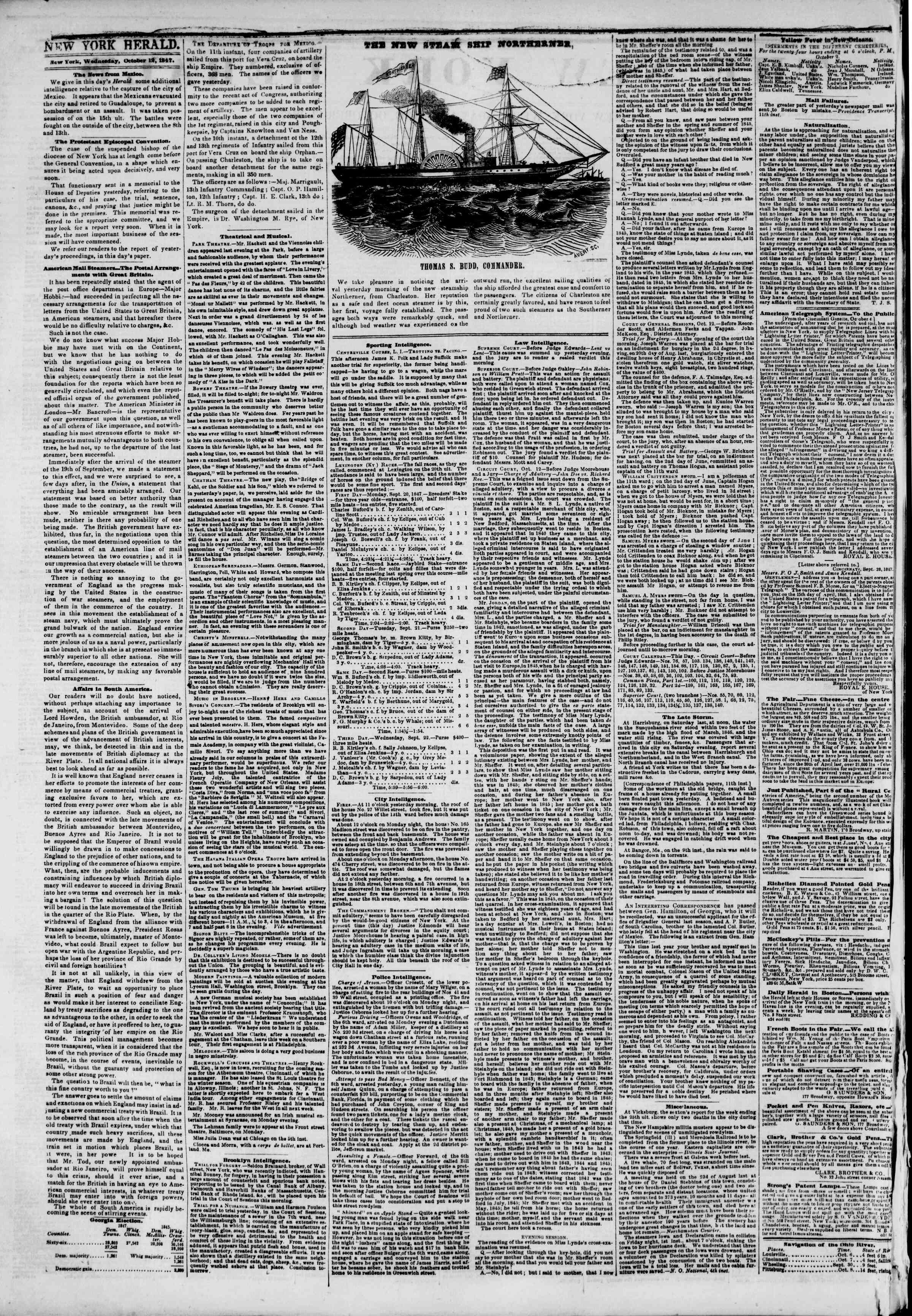 Newspaper of The New York Herald dated October 13, 1847 Page 2