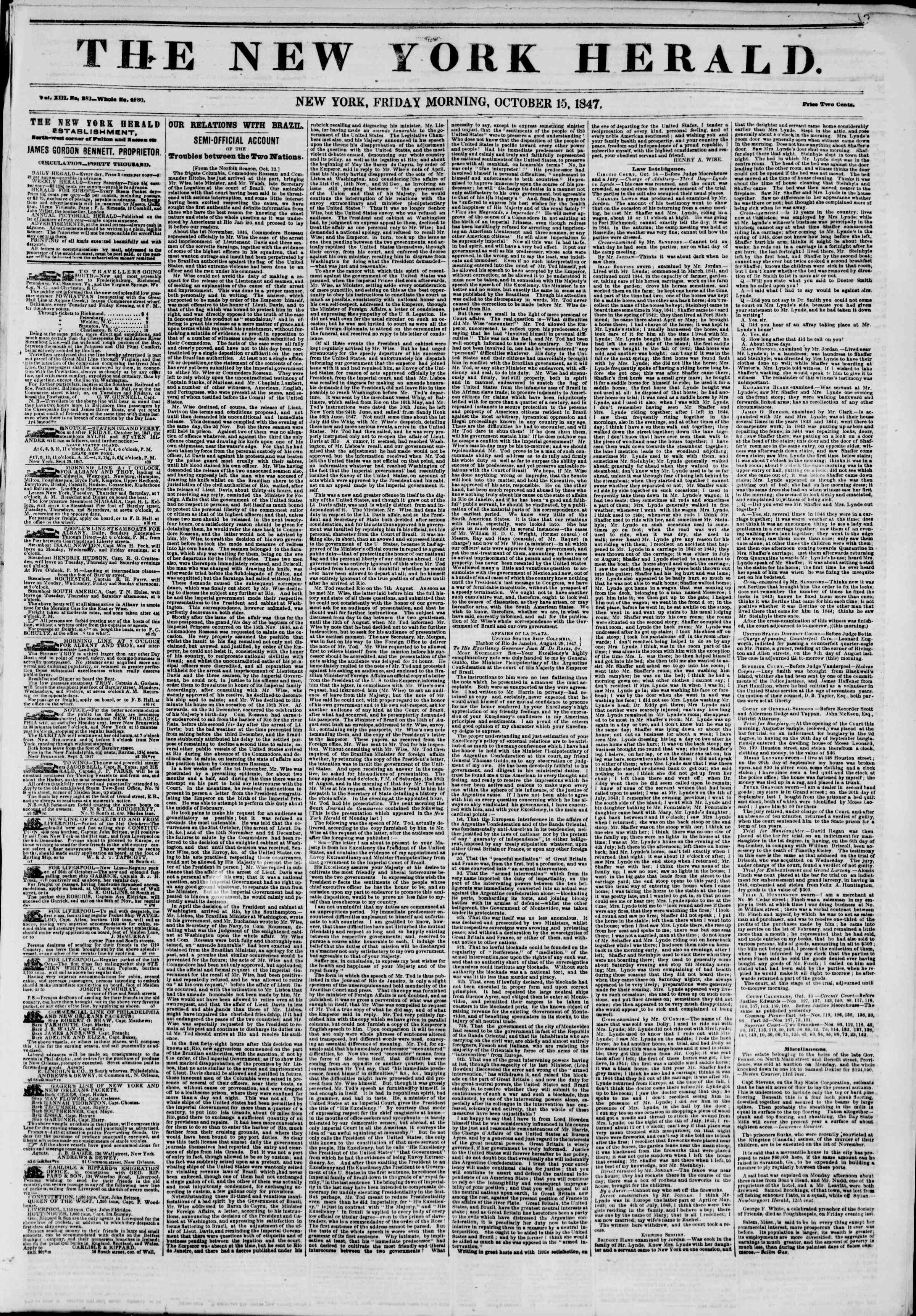 Newspaper of The New York Herald dated October 15, 1847 Page 1